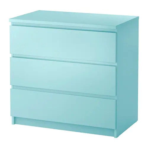 MALM Commode 3 Tiroirs Turquoise Clair IKEA