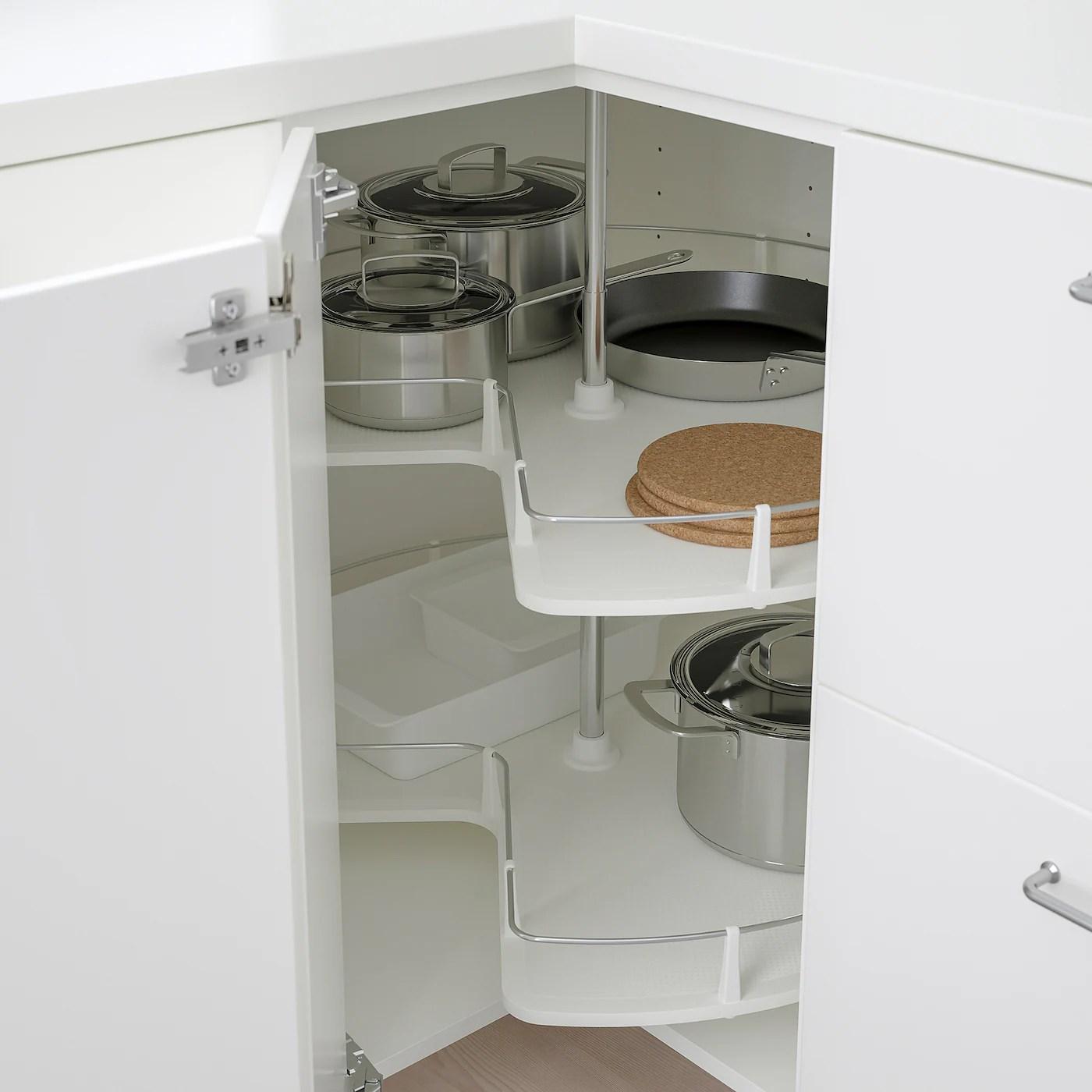 Metod Element Bas Angle Rgt Pivotant Blanc Veddinge Blanc 88x88 Cm Ikea