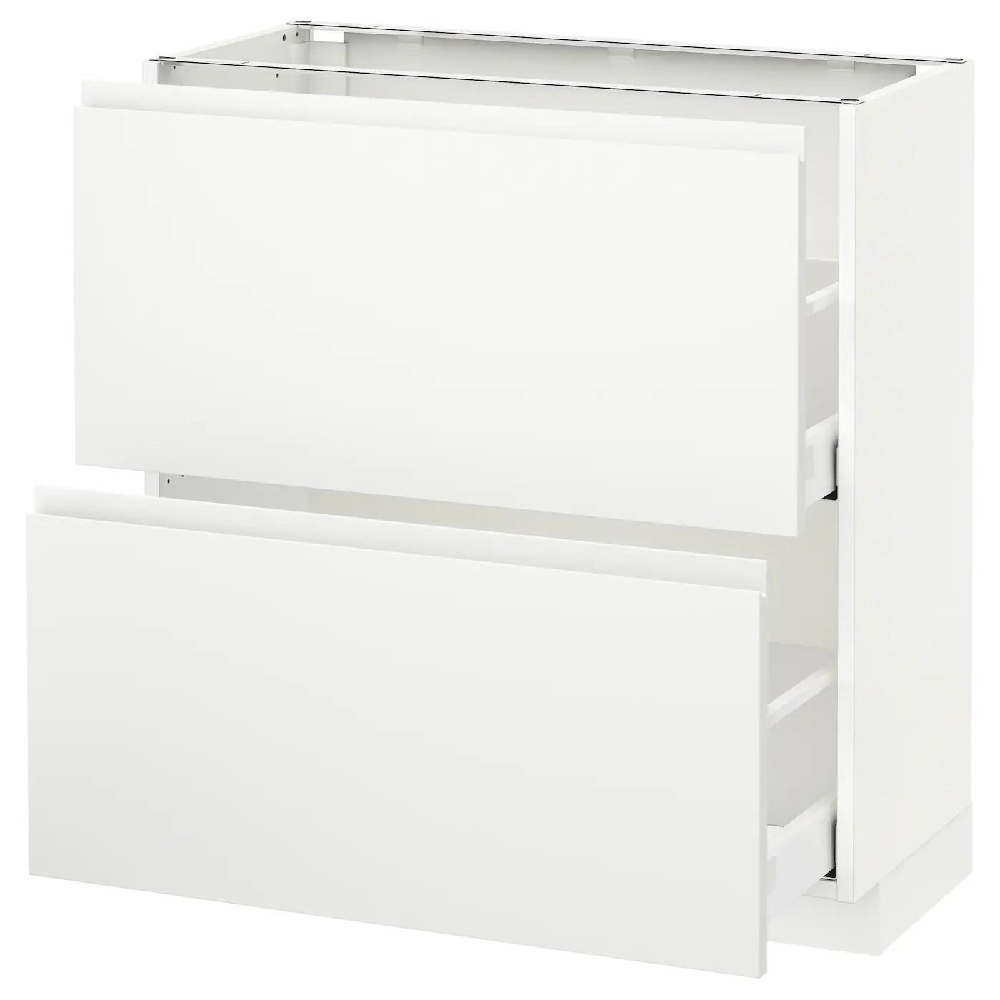 metod maximera element bas 2 tiroirs blanc voxtorp blanc mat 80x37 cm