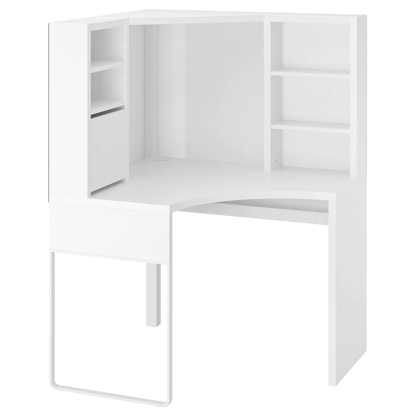 Micke Poste De Travail D Angle Blanc 100x141 Cm Ikea