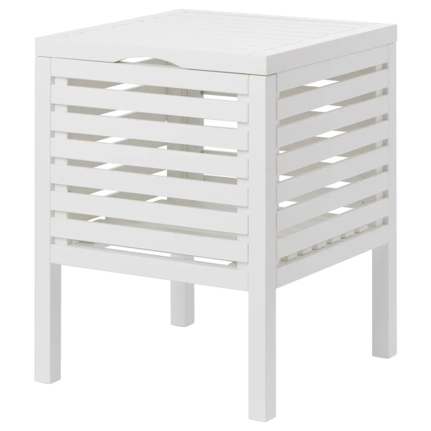 Muskan Tabouret Avec Rangement Blanc Materiau Durable Ikea