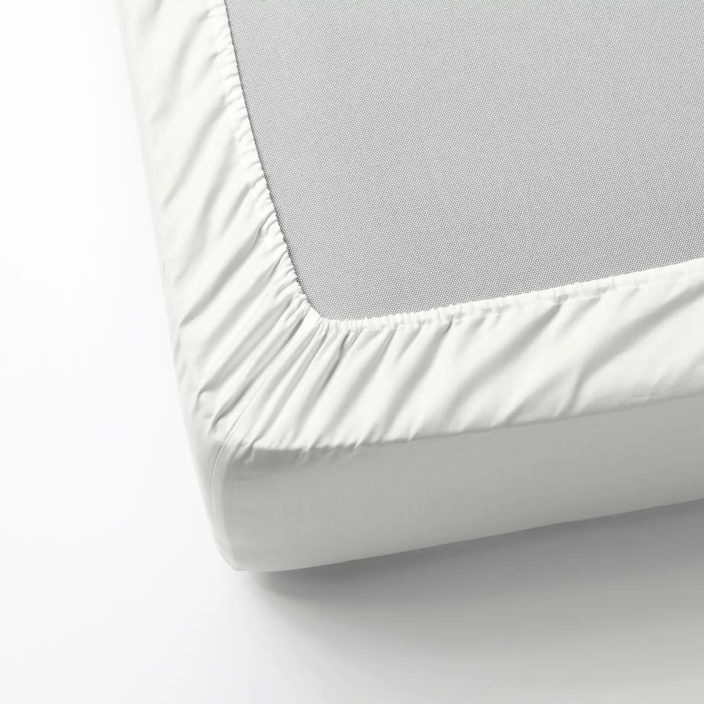 Nattjasmin Drap Housse Blanc 90x200 Cm Materiau Durable Ikea
