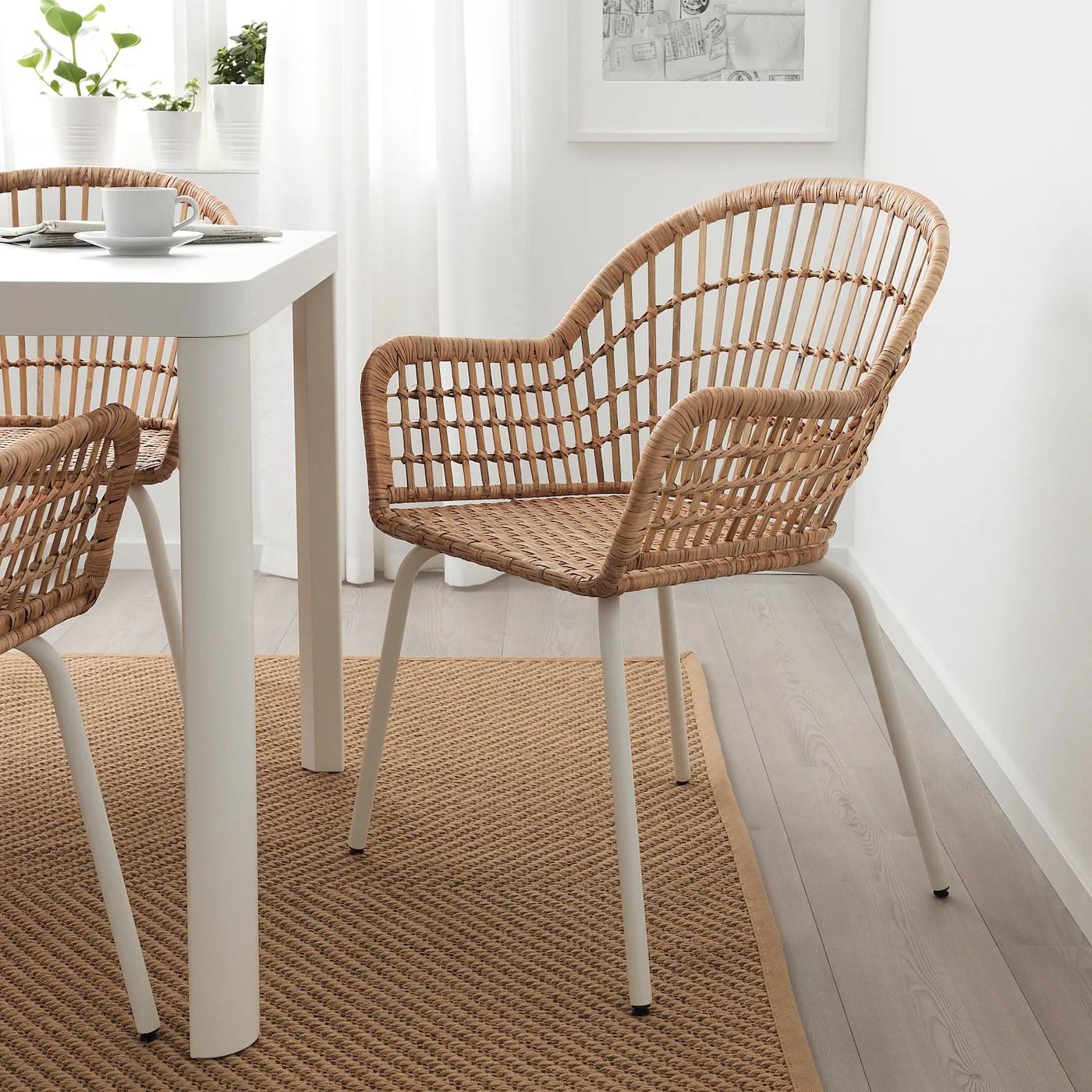 nilsove chaise a accoudoirs rotin blanc