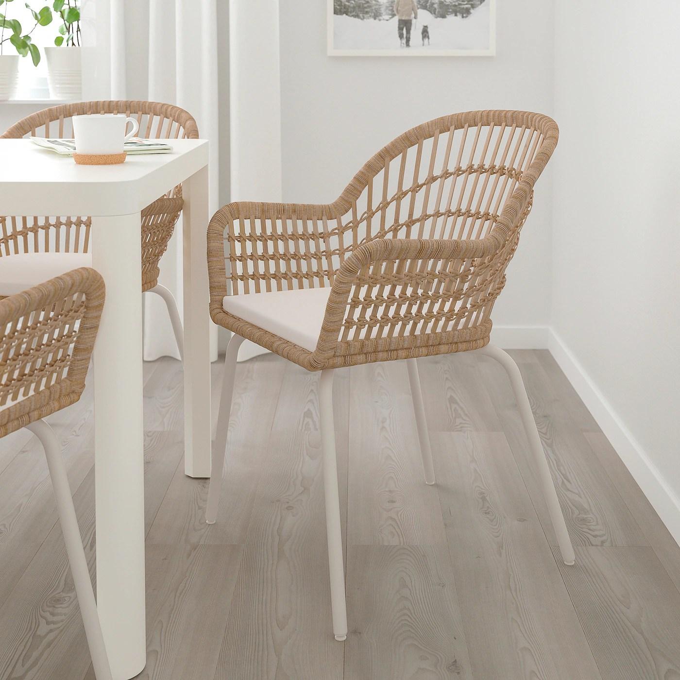 nilsove norna chaise coussin rotin blanc laila naturel