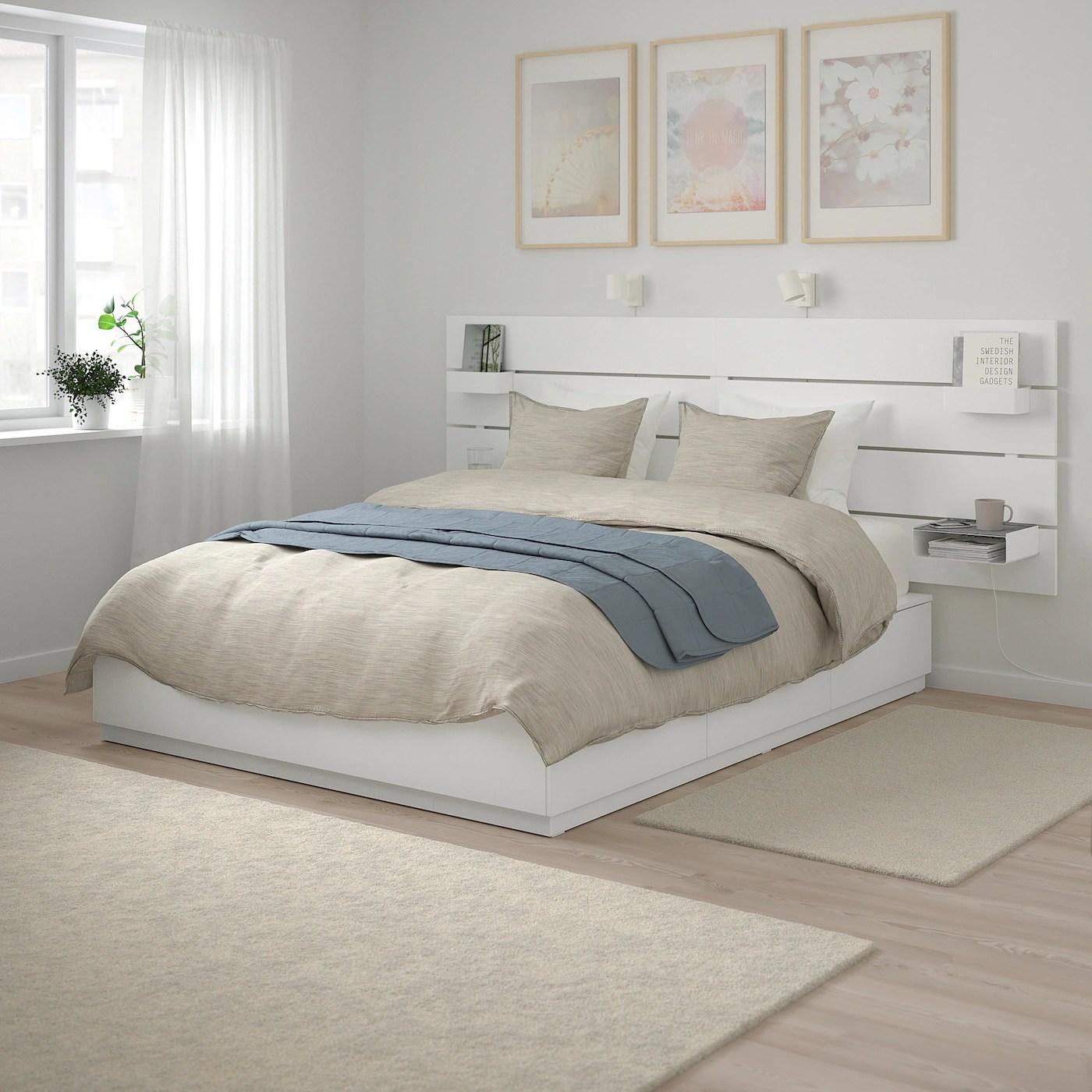 nordli cadre de lit rangement tete de lit blanc 160x200 cm