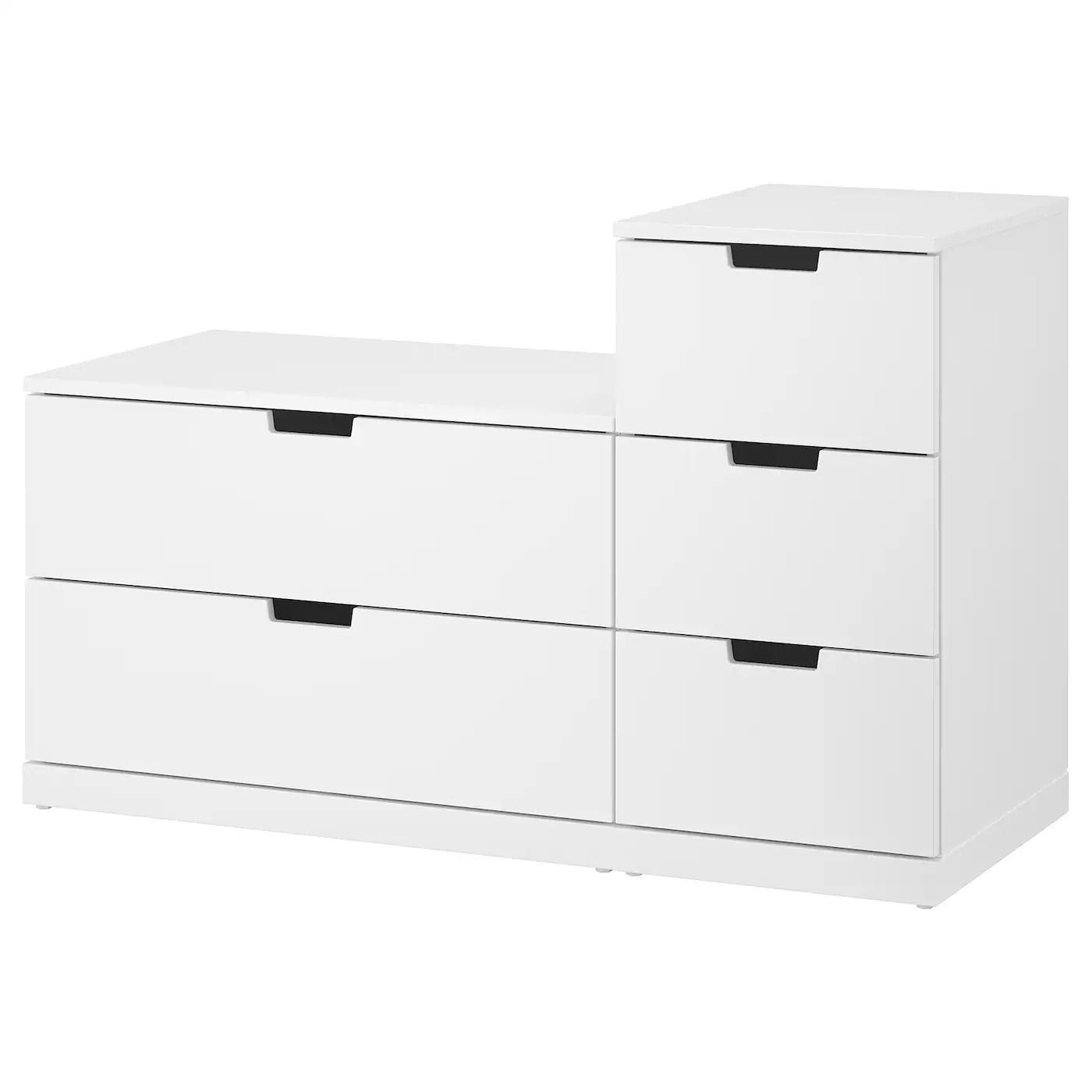 Nordli Commode 5 Tiroirs Blanc 120x76 Cm Ikea