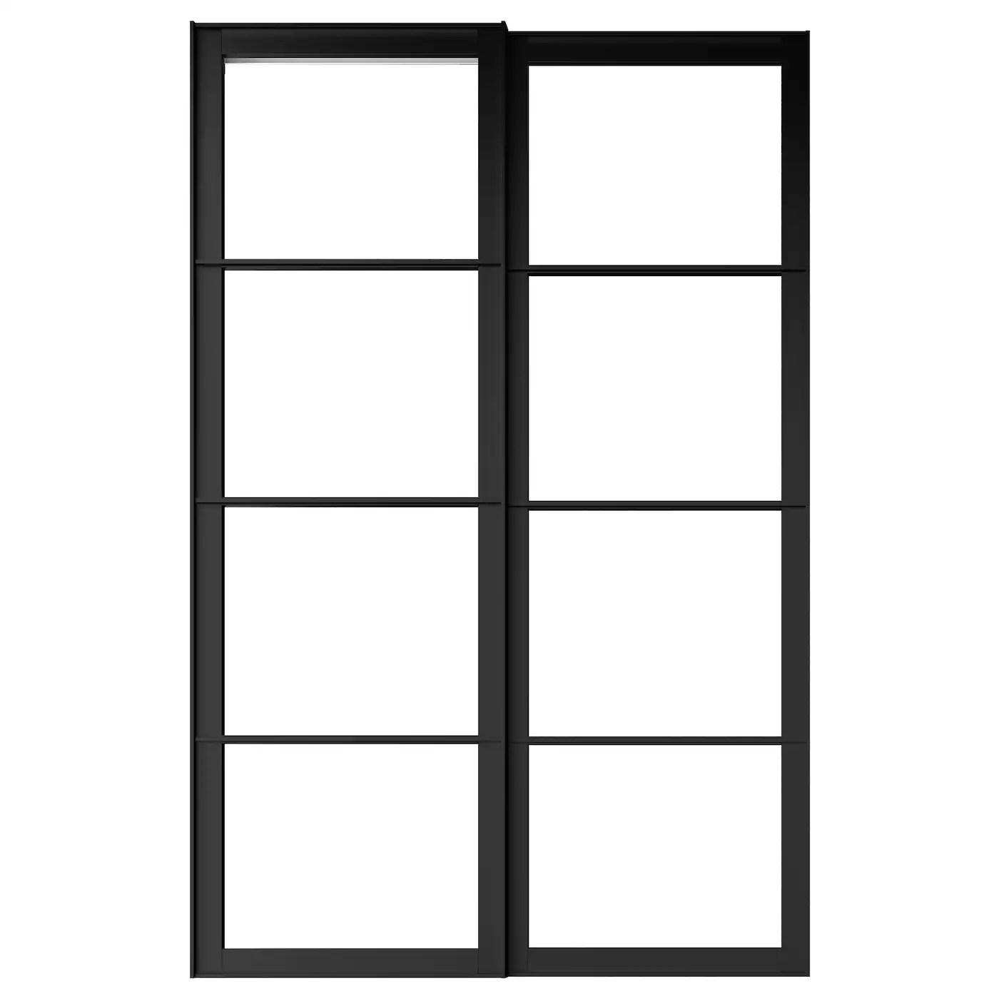 pax cadre porte coulissante 2pces noir 150x236 cm