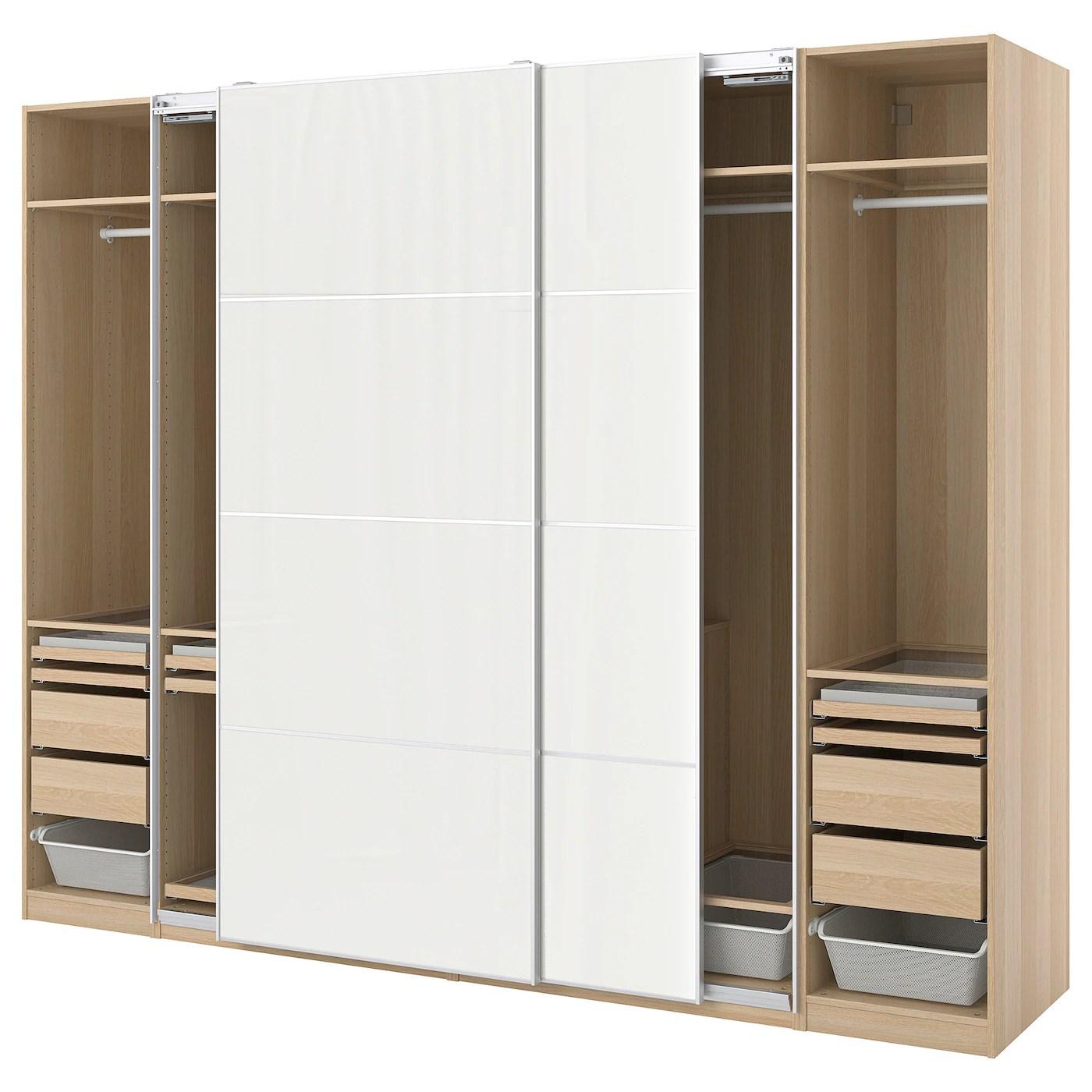 pax hokksund combinaison armoire effet chene blanchi gris clair brillant 300x66x236 cm
