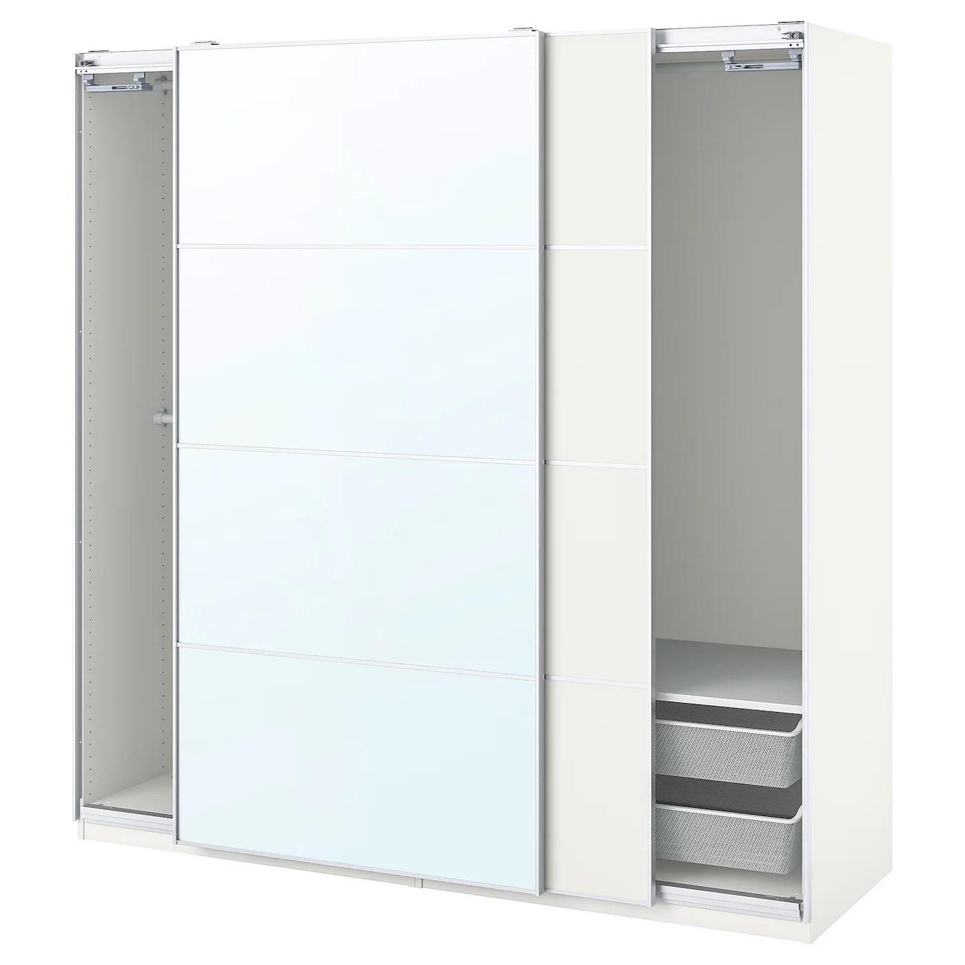 Pax Mehamn Auli Combi Armoire Blanc Miroir 200x66x201 Cm Ikea