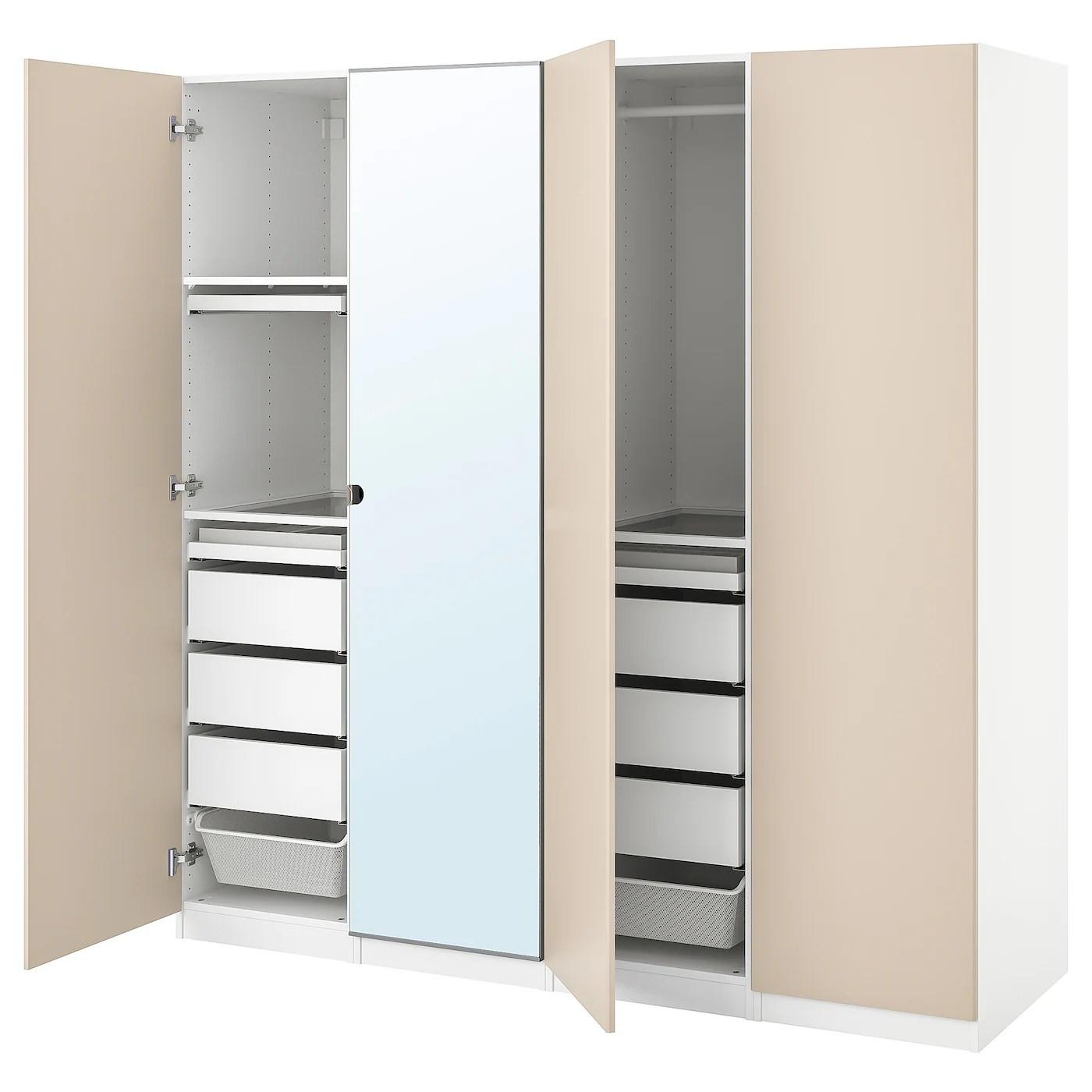 Pax Reinsvoll Vikedal Combi Armoire Blanc Gris Beige Miroir 200x60x201 Cm Ikea