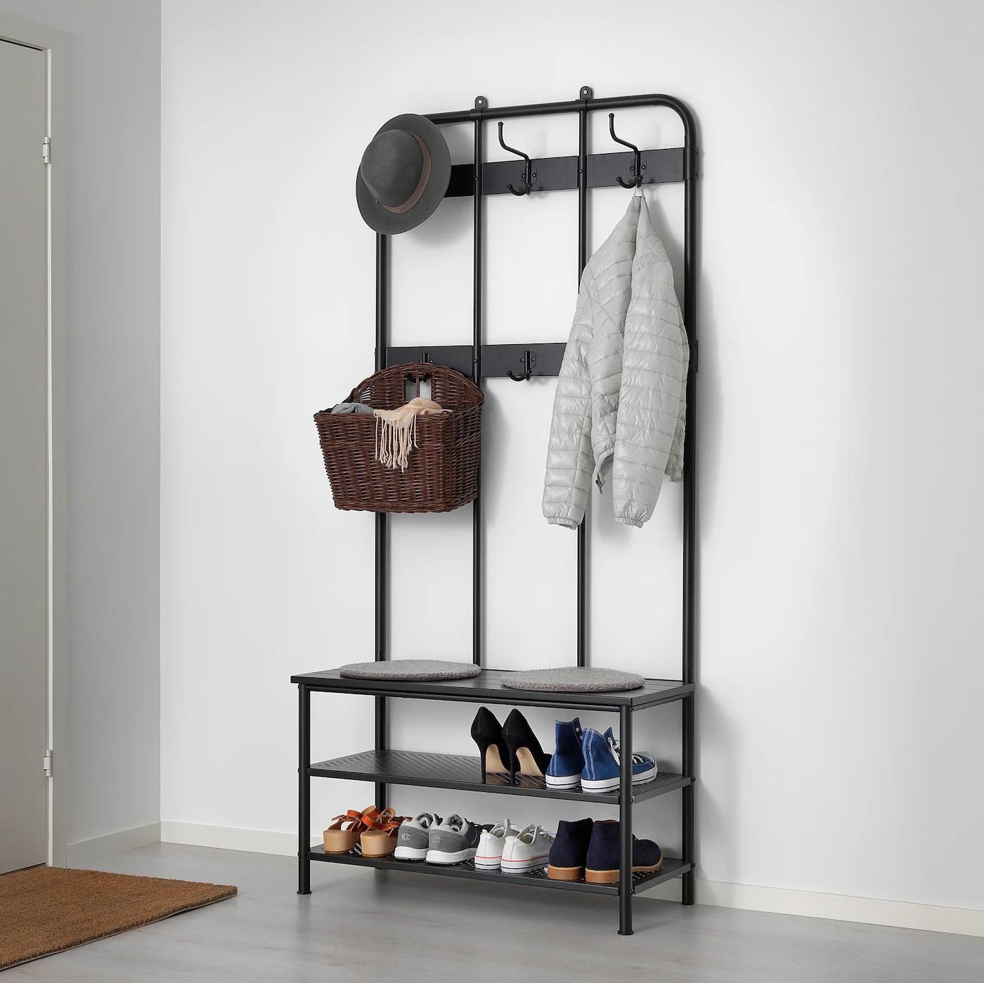 Pinnig Portemanteau Et Porte Chaussures Noir Ikea
