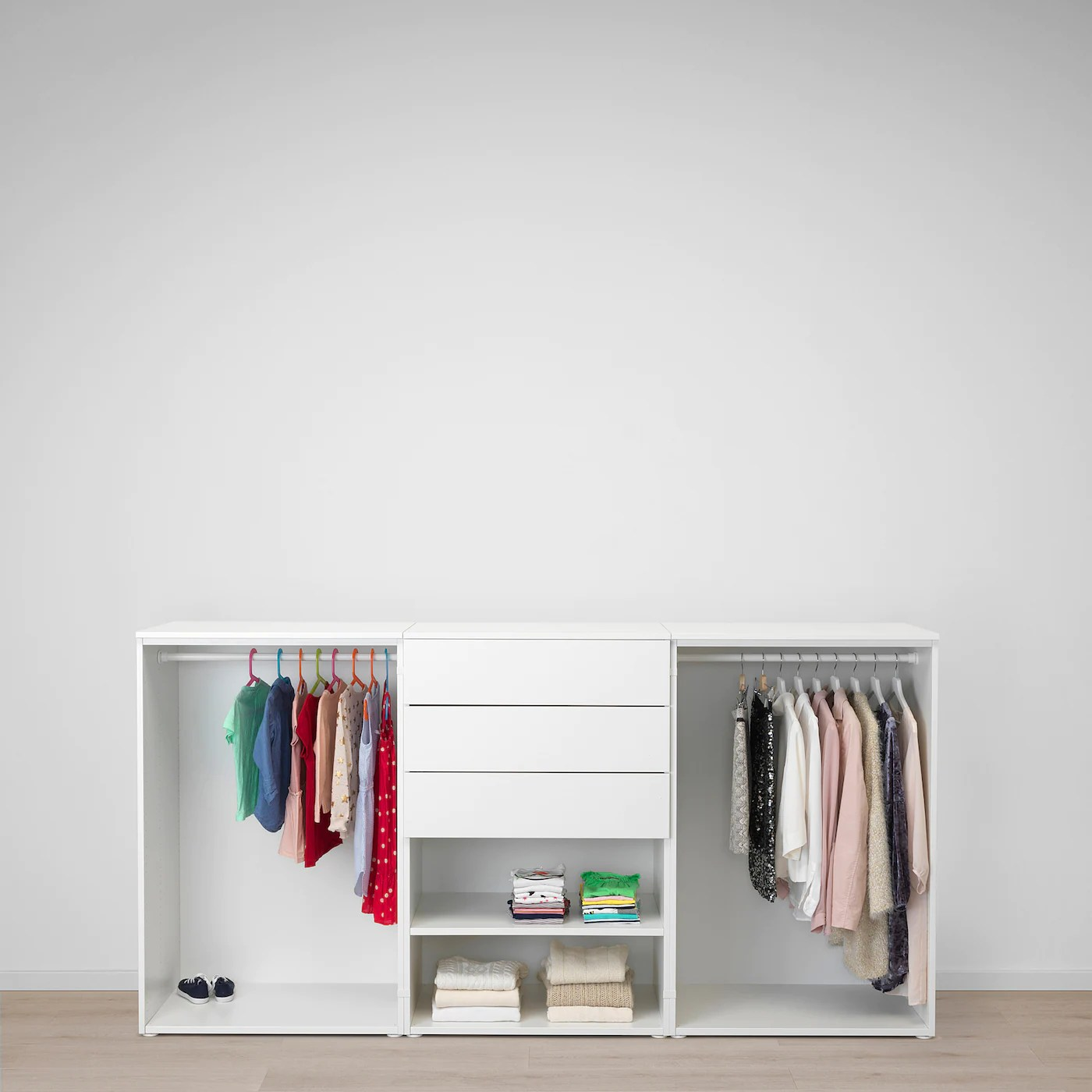 platsa armoire penderie blanc fonnes sannidal 240x57x123 cm