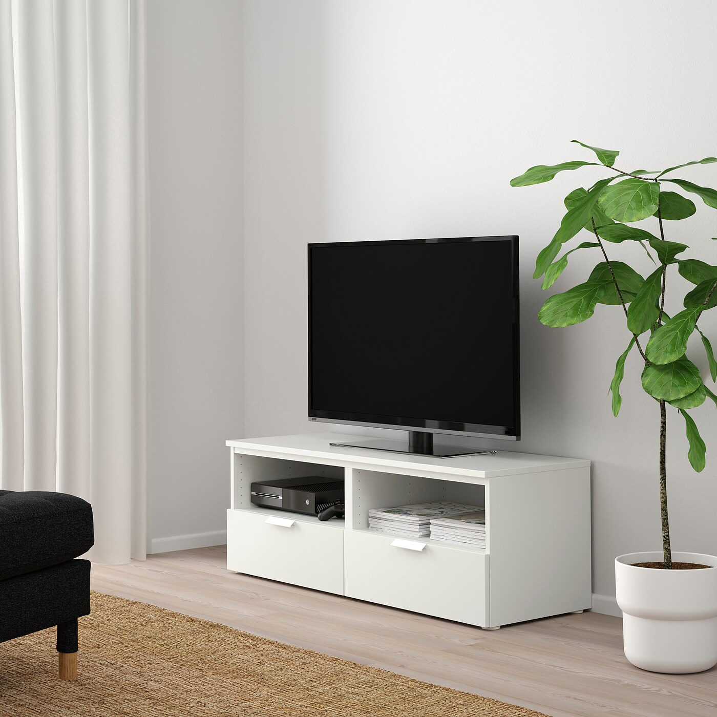 platsa banc tv avec tiroirs blanc fonnes blanc 120x44x44 cm