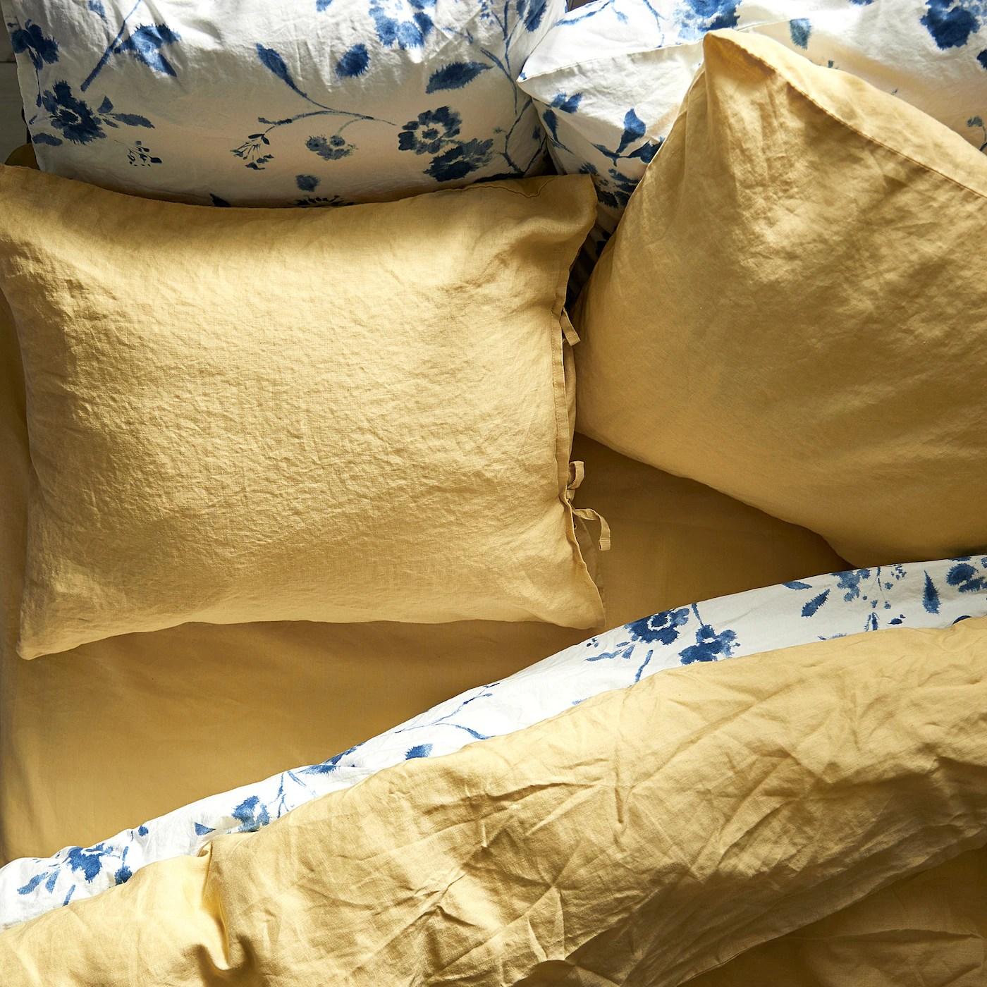 puderviva housse de couette et 2 taies jaune clair 240x220 65x65 cm