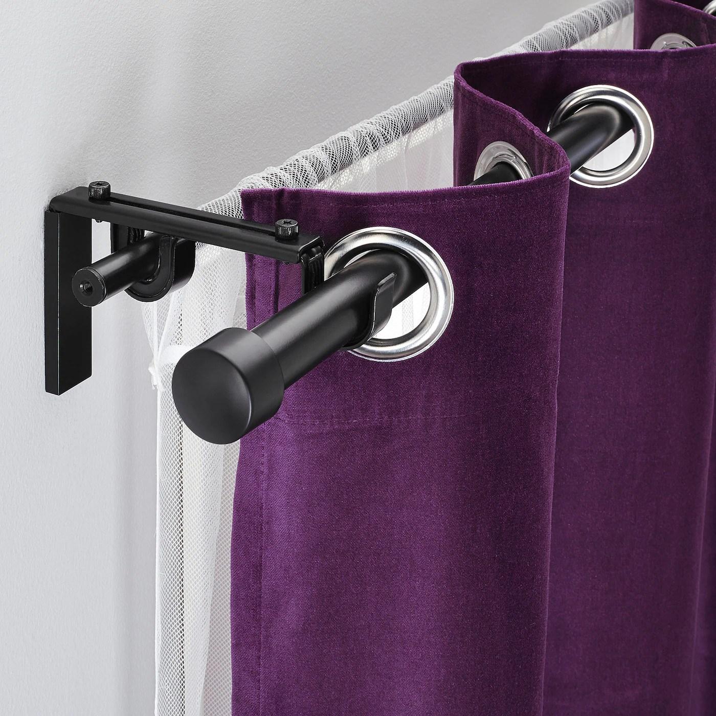 racka hugad combi tringle a rideaux double noir 120 210 cm