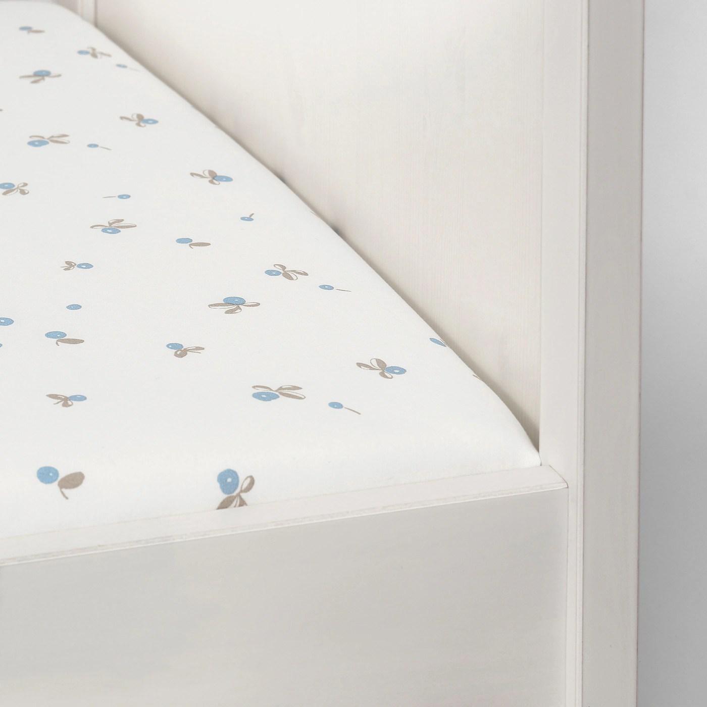 Rodhake Drap Housse Pour Lit Bebe Blanc Motif Myrtilles 60x120 Cm Ikea