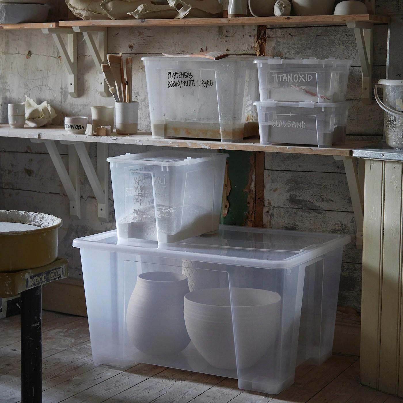 Samla Boite Avec Couvercle Transparent 78x56x44 Cm 130 L Ikea