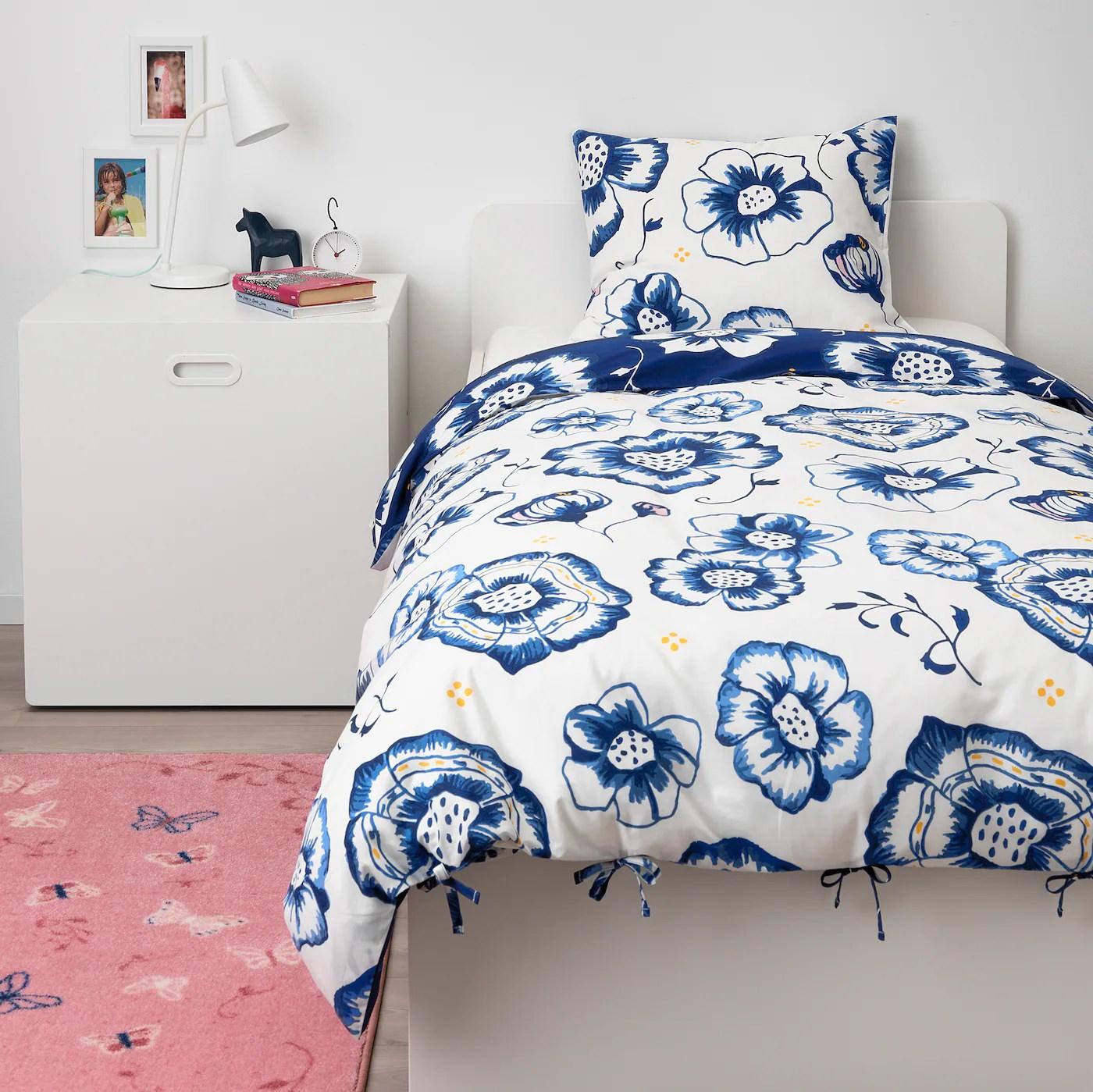 Sanglarka Housse De Couette Et Taie Fleur Bleu Fonce Blanc 150x200 65x65 Cm Ikea