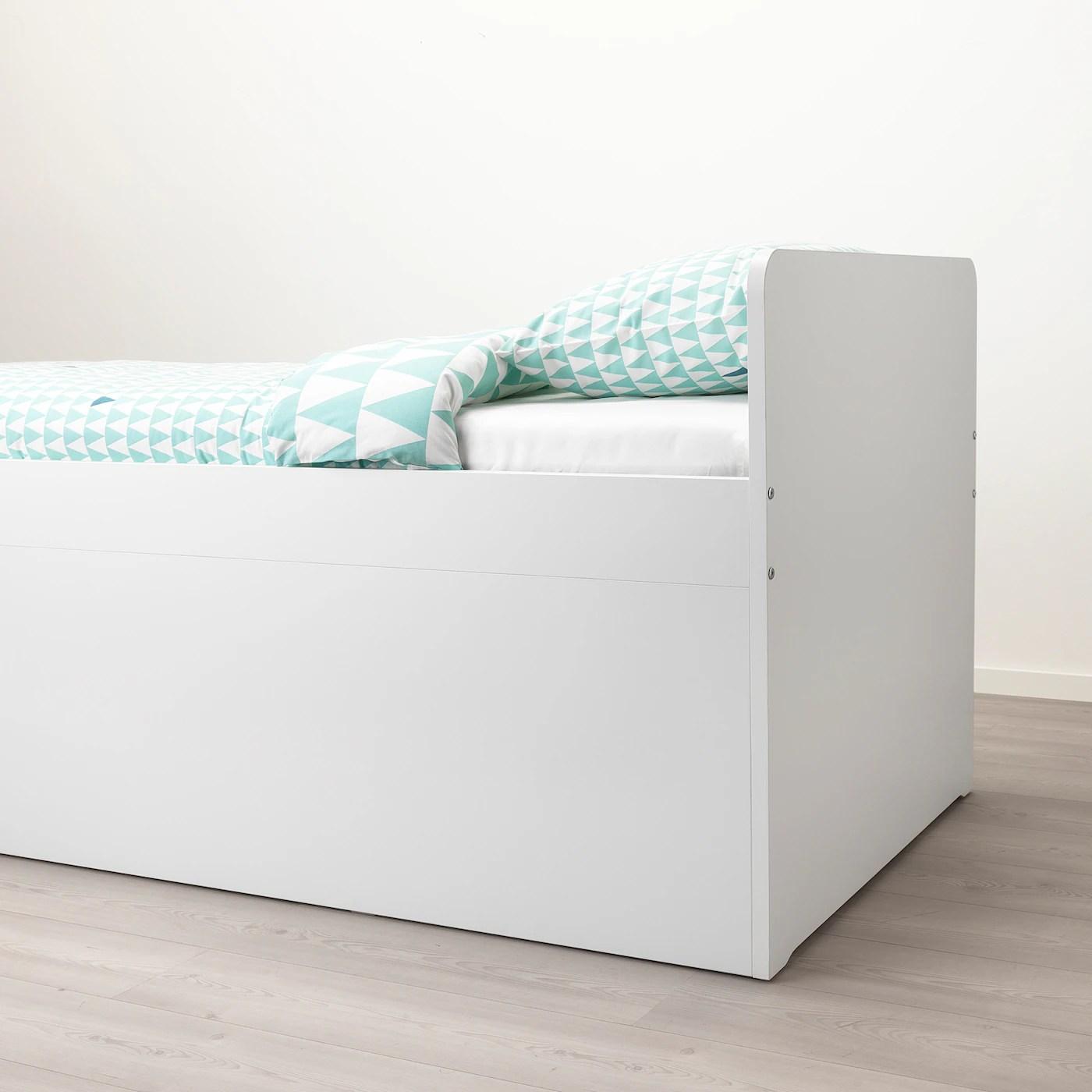 Slakt Structure Lit Rangem Sommier Lattes Blanc 90x200 Cm Ikea