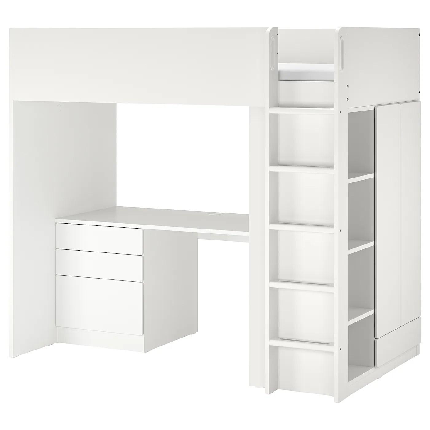 Smastad Lit Mezzanine Blanc Blanc Avec Bureau Avec 4 Tiroirs Ikea