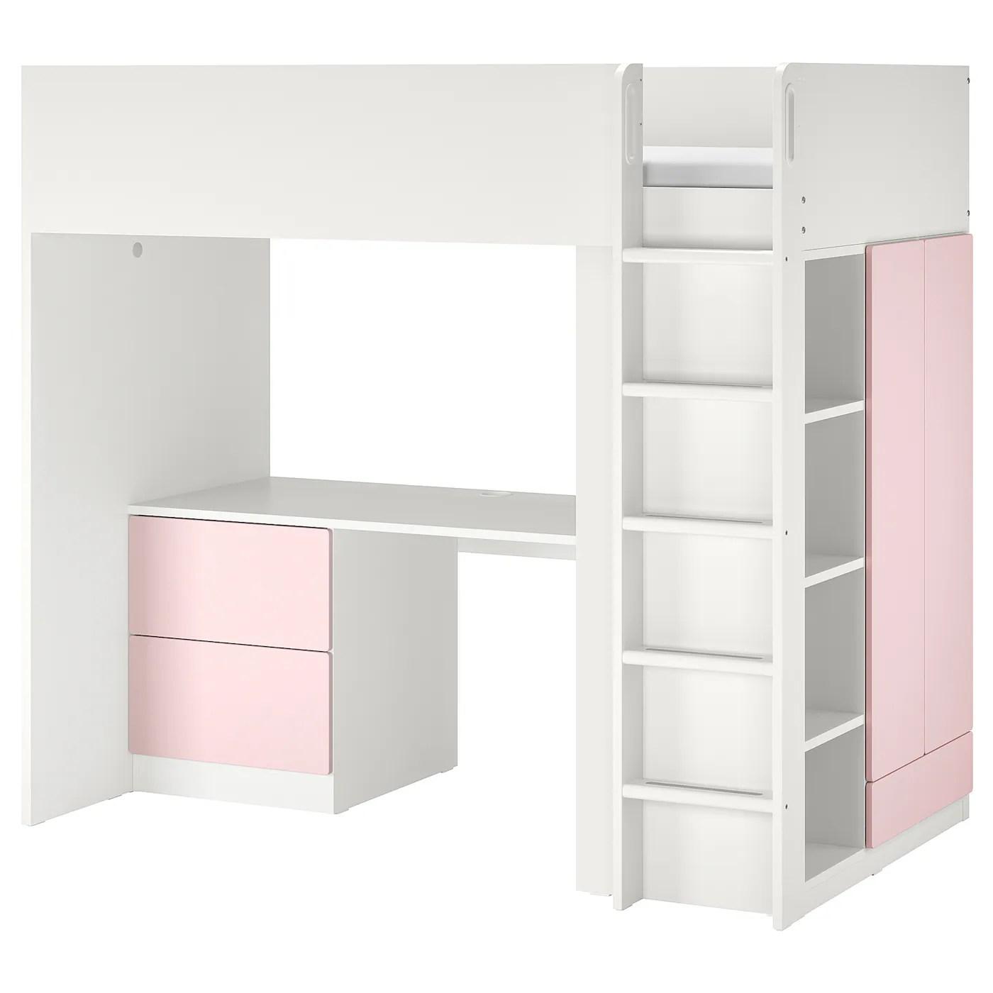 Smastad Lit Mezzanine Blanc Rose Pale Avec Bureau Avec 3 Tiroirs Ikea