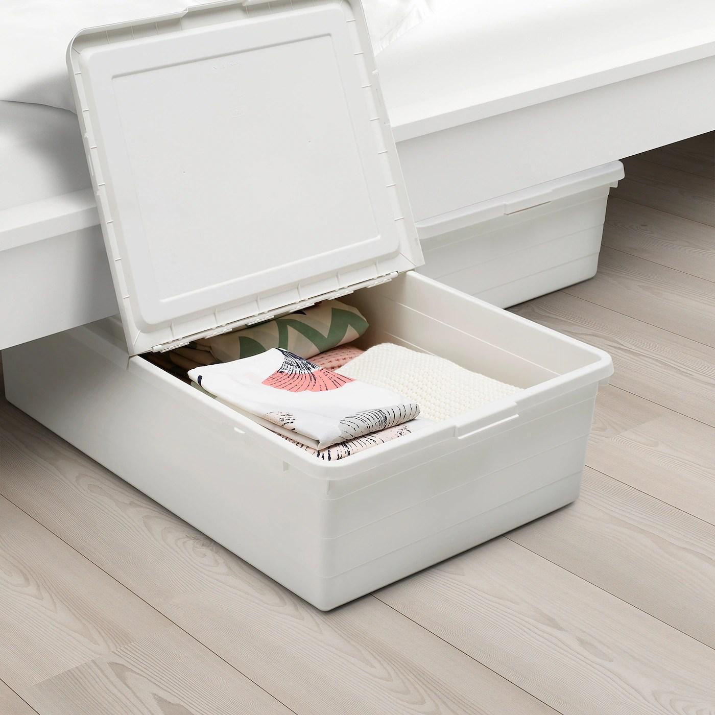 sockerbit boite de rangement avec couvercle blanc 50x77x19 cm
