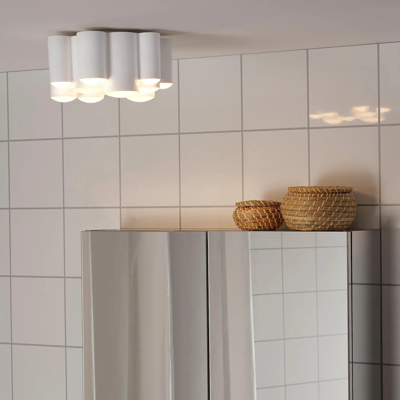 Sodersvik Plafonnier A Led Intensite Reglable Brillant Blanc Blanc 21 Cm Ikea