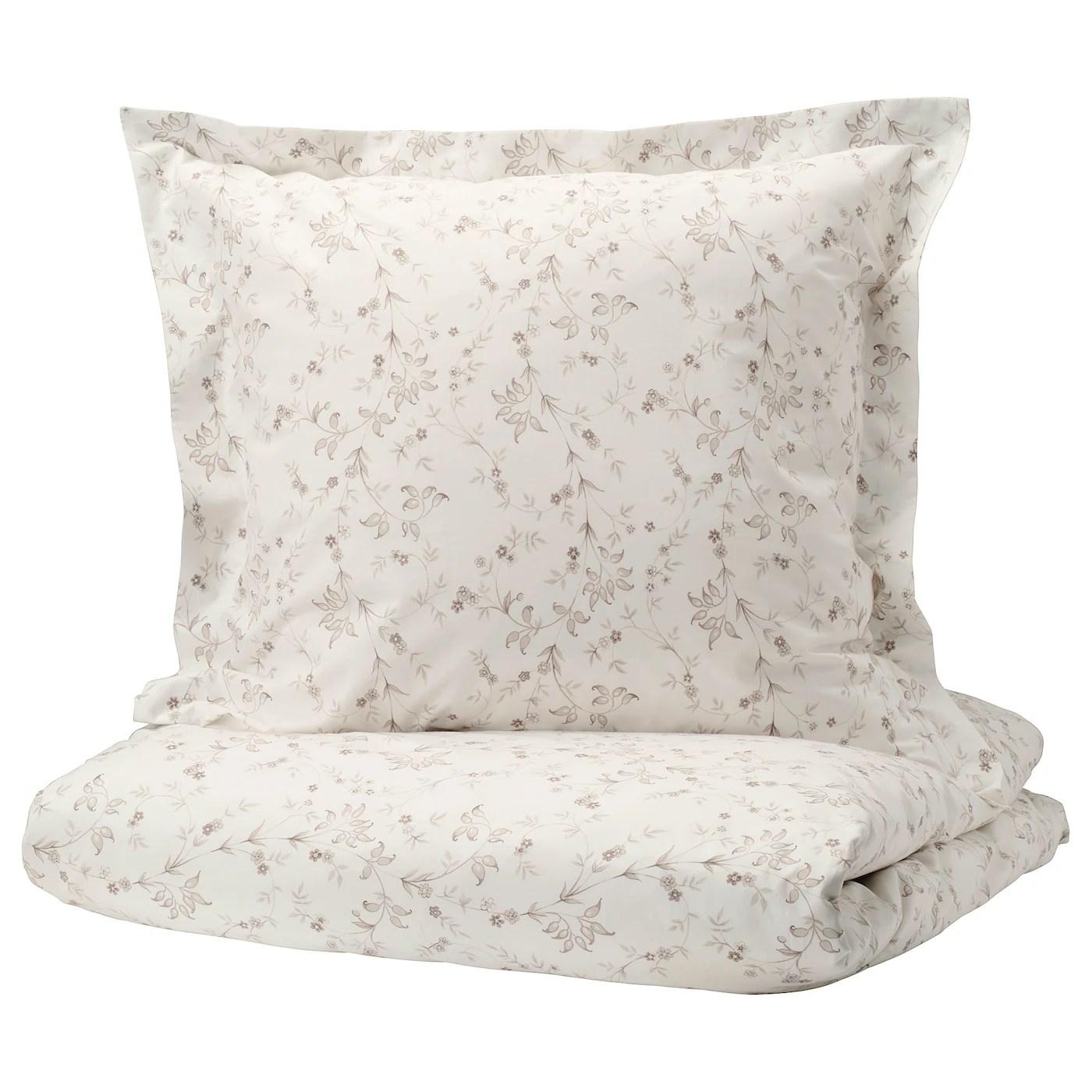 Strandfrane Housse Couette 2 Taies Blanc Beige Clair 240x220 65x65 Cm Ikea