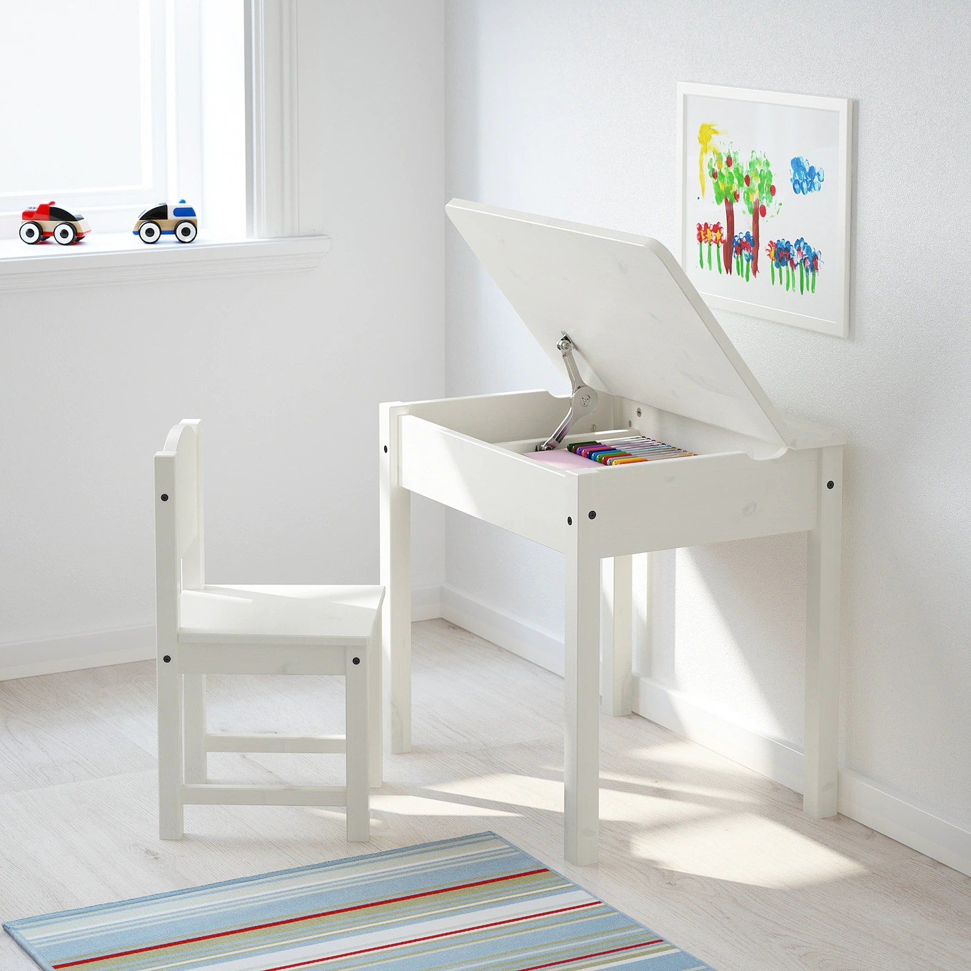 Sundvik Bureau Enfant Blanc 60x45 Cm Materiau Durable Ikea