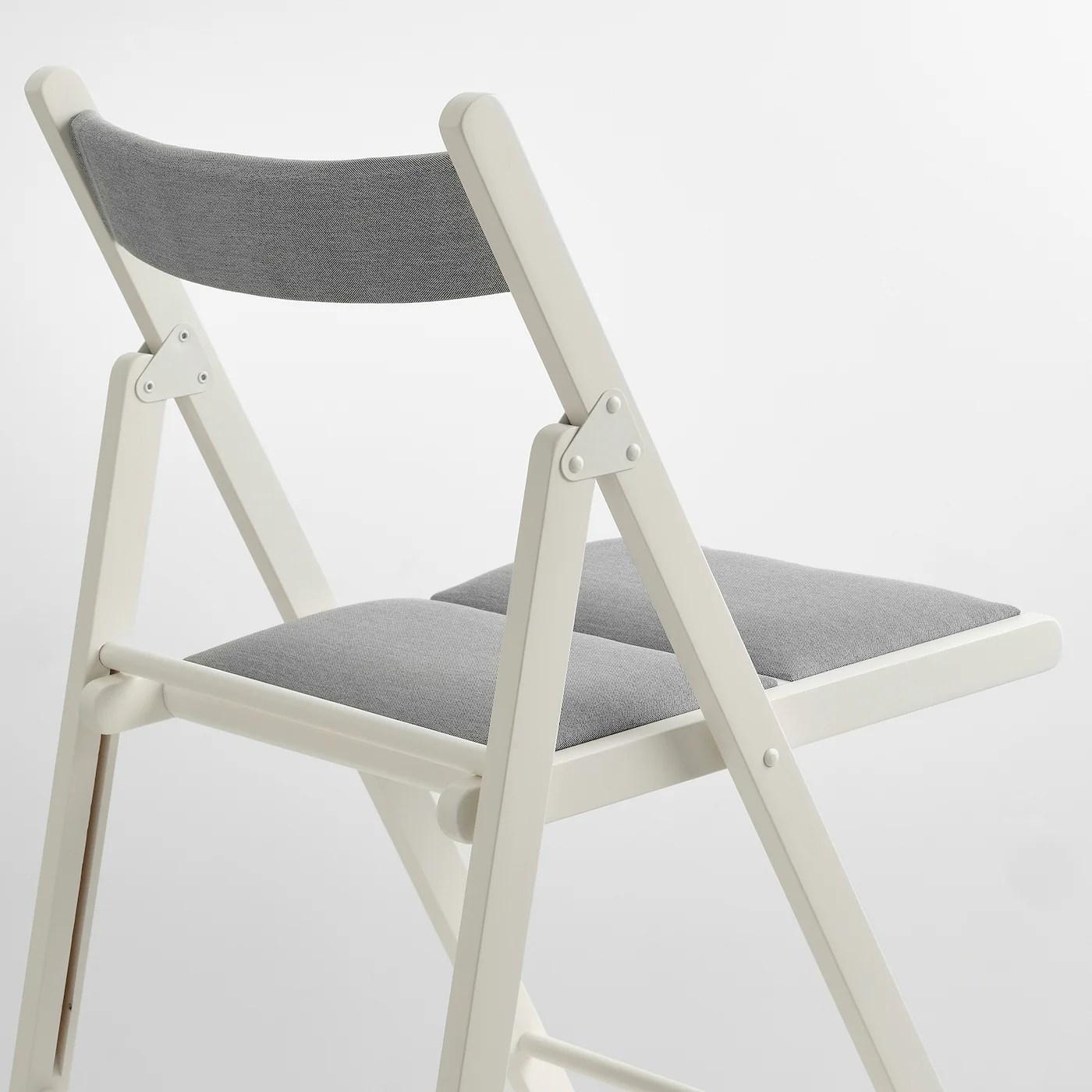 Terje Chaise Pliante Blanc Knisa Gris Clair Ikea