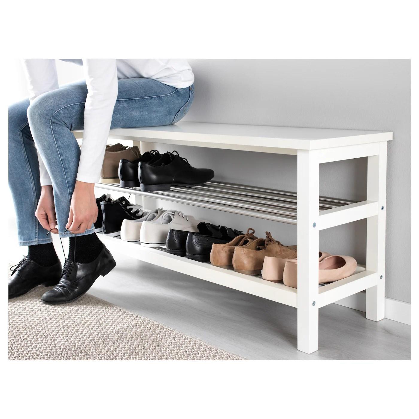 tjusig banc avec rangement chaussures blanc 108x50 cm