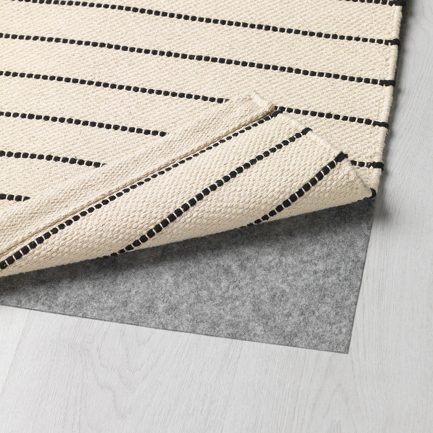 torslev tapis tisse a plat rayure blanc noir 80x150 cm