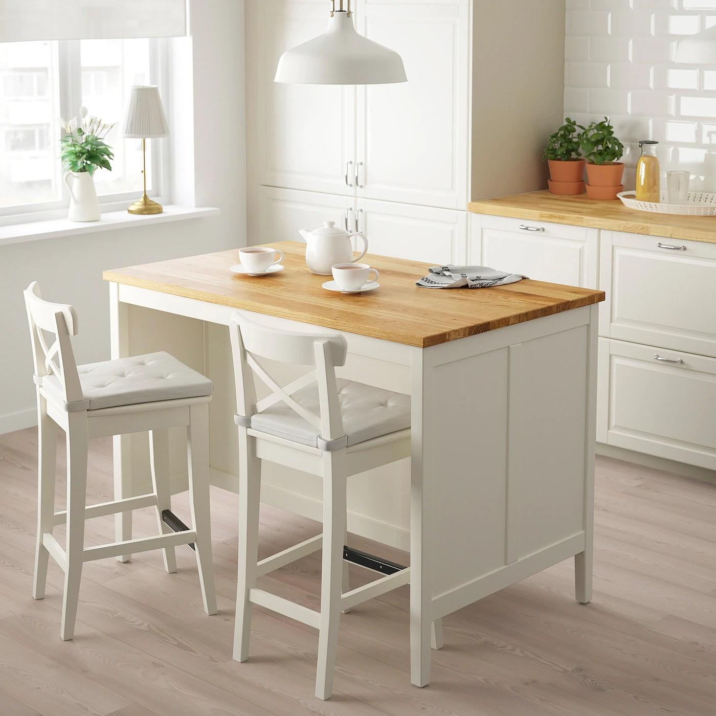 Tornviken Ilot Pour Cuisine Blanc Casse Chene 126x77 Cm Ikea