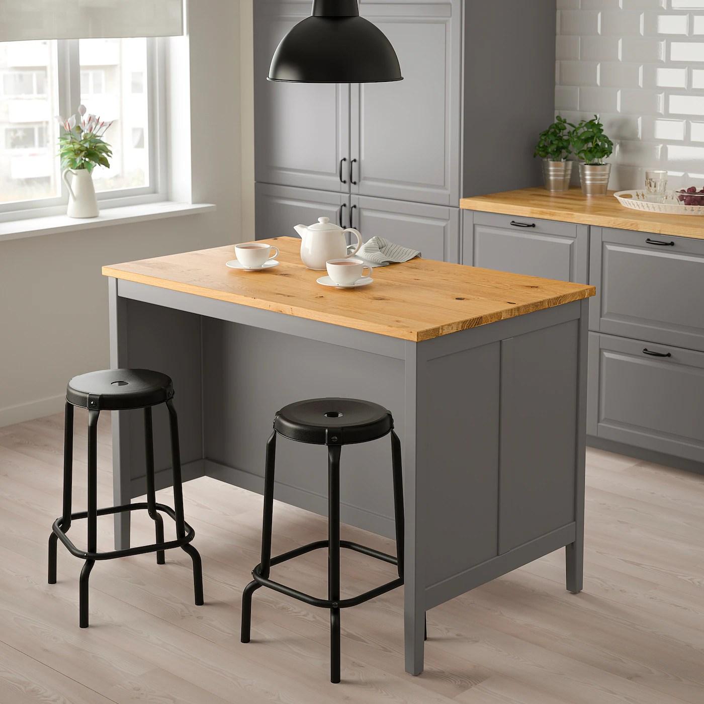 Tornviken Ilot Pour Cuisine Gris Chene 126x77 Cm Ikea