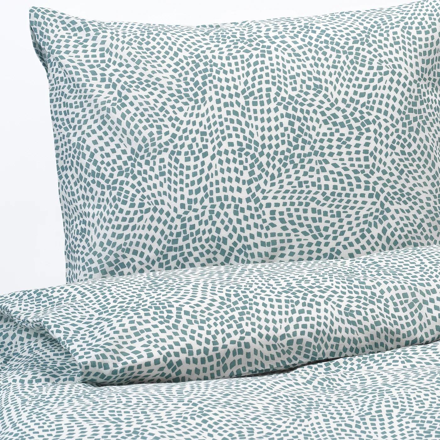 Tradkrassula Housse Couette 2 Taies Blanc Bleu 240x220 65x65 Cm Ikea