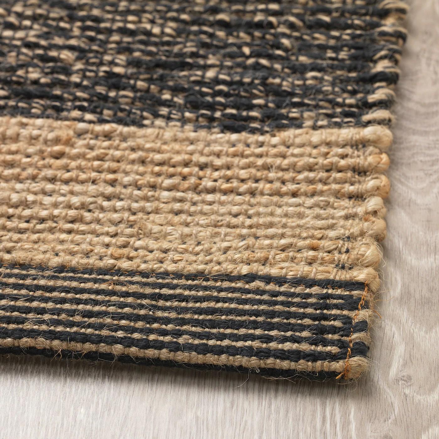ugilt tapis tisse a plat noir beige 80x150 cm