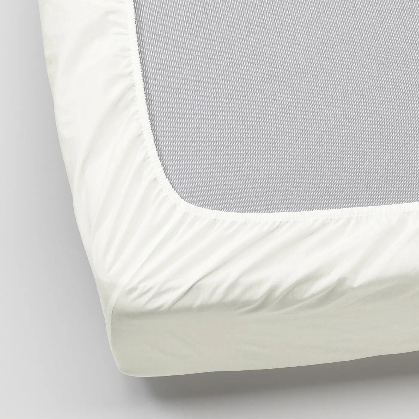 Ullvide Drap Housse Blanc 90x200 Cm Materiau Durable Ikea