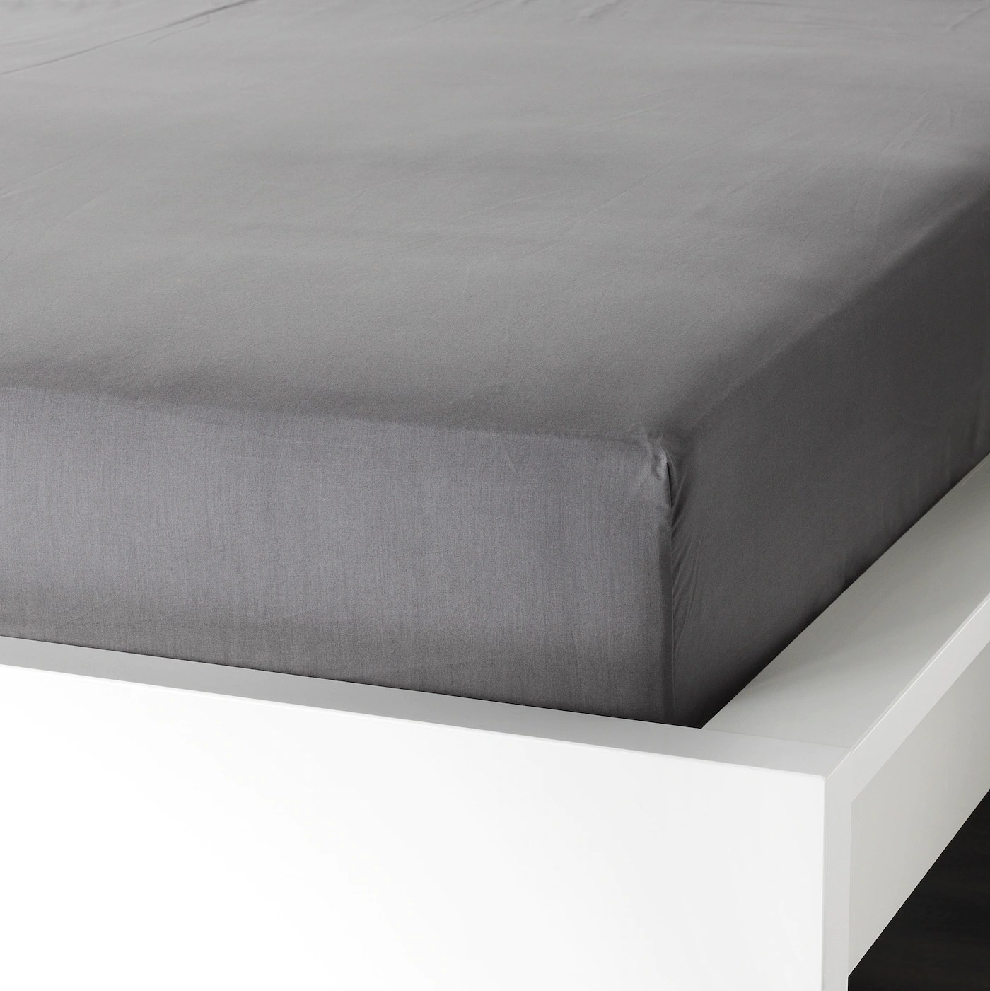 Ullvide Drap Housse Gris 90x200 Cm Materiau Durable Ikea