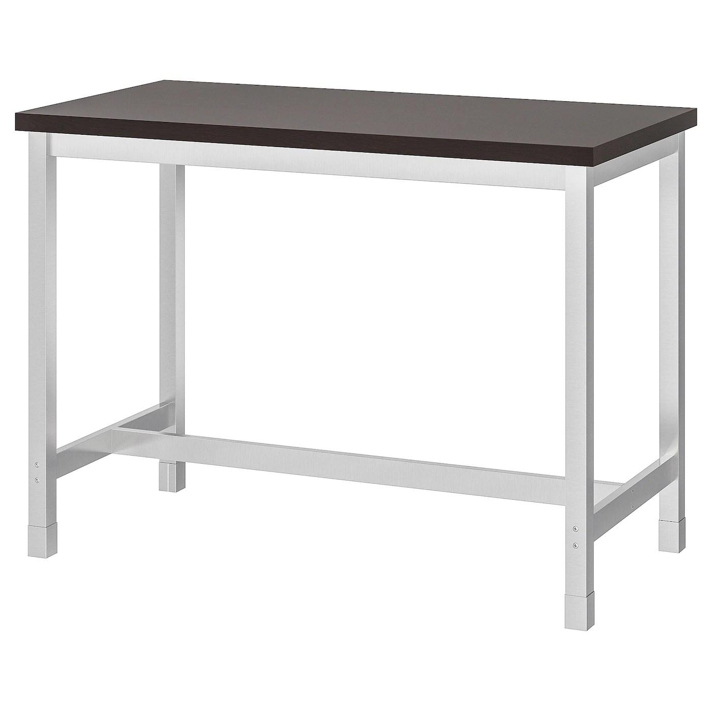 utby table de bar brun noir acier inoxydable 120x60x90 cm