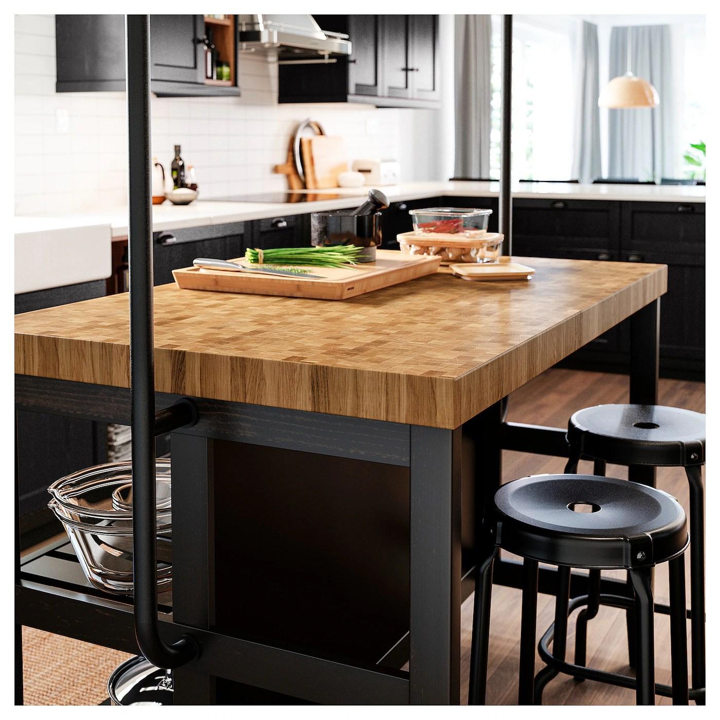 Vadholma Ilot Pour Cuisine Noir Chene 126x79x90 Cm Ikea