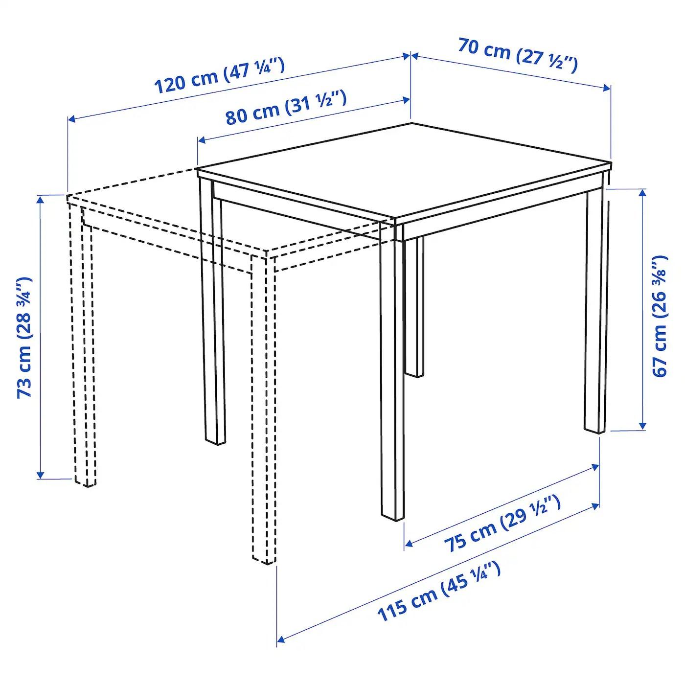 Vangsta Table Extensible Blanc 80 120x70 Cm Ikea