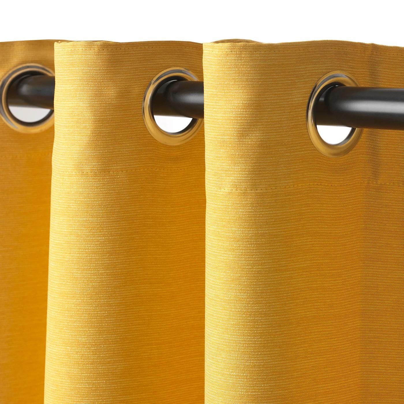 vilborg rideaux 2 pieces jaune avec oeillets 145x300 cm