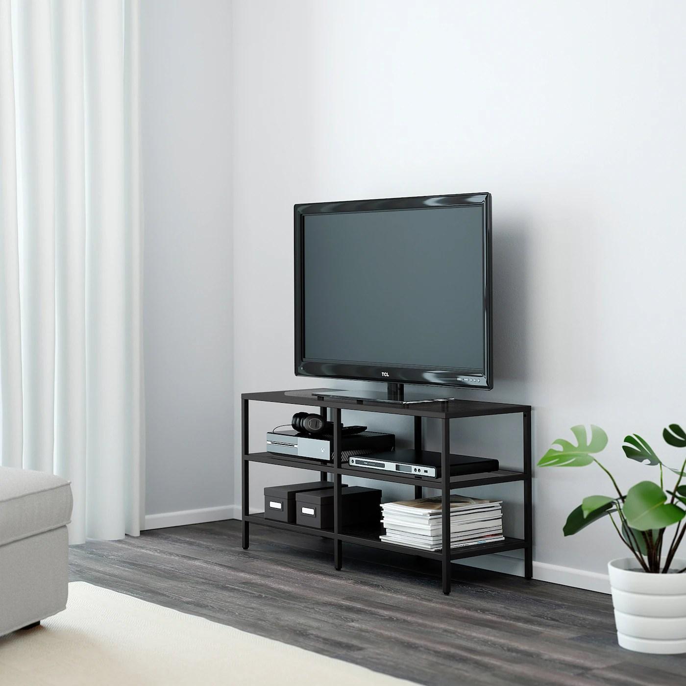 vittsjo banc tv brun noir verre 100x36x53 cm