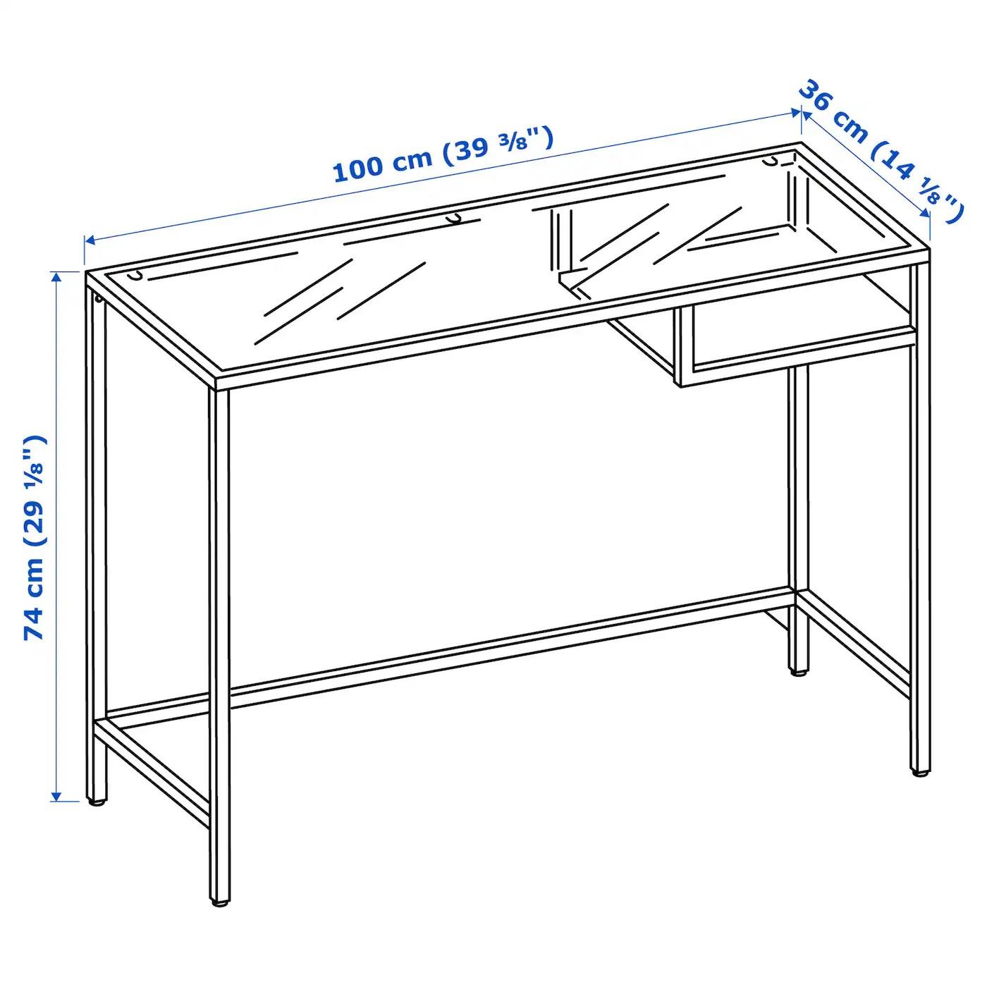 Vittsjo Table Ordinateur Portable Brun Noir Verre 100x36 Cm Ikea
