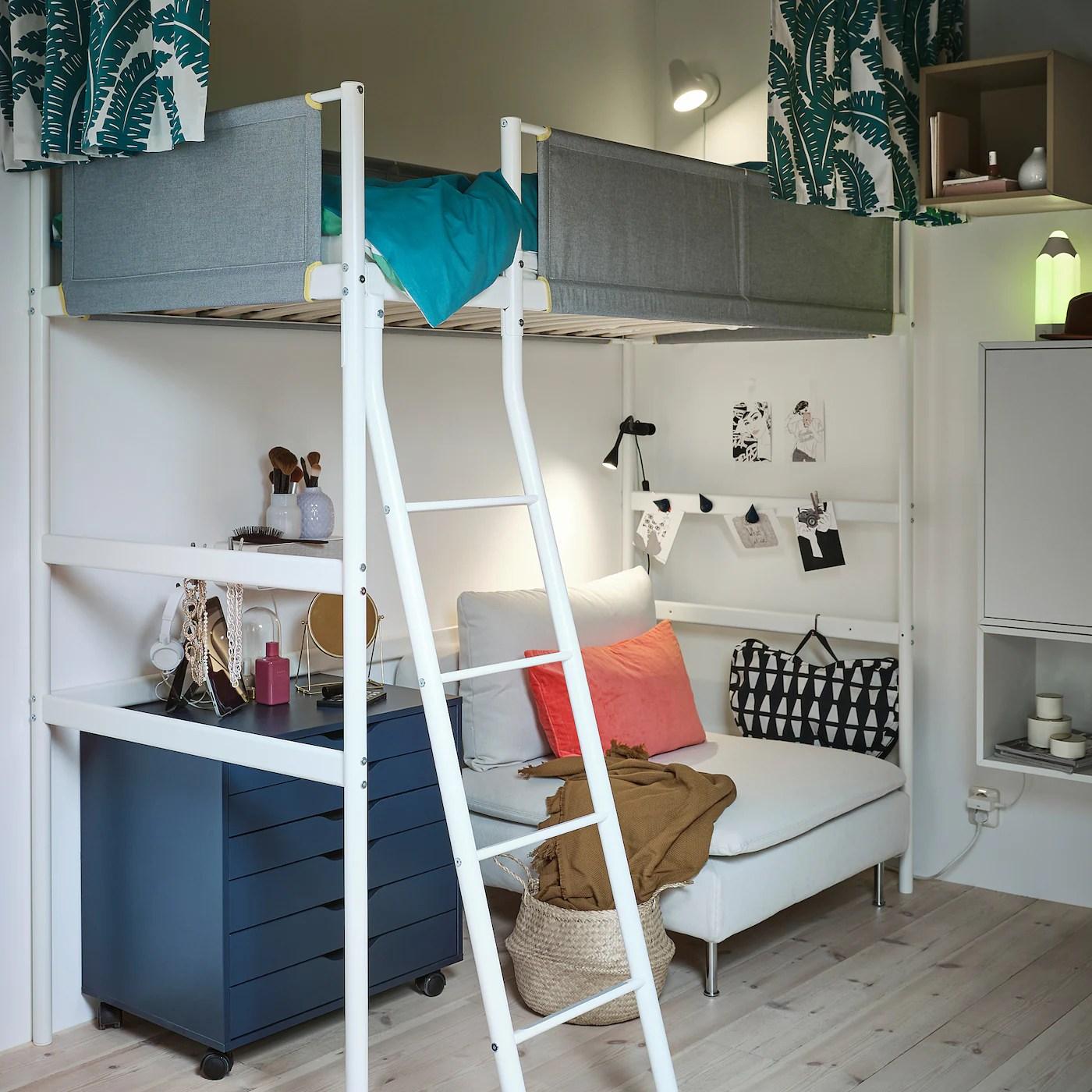 Vitval Structure Lit Mezzanine Blanc Gris Clair 90x200 Cm Ikea