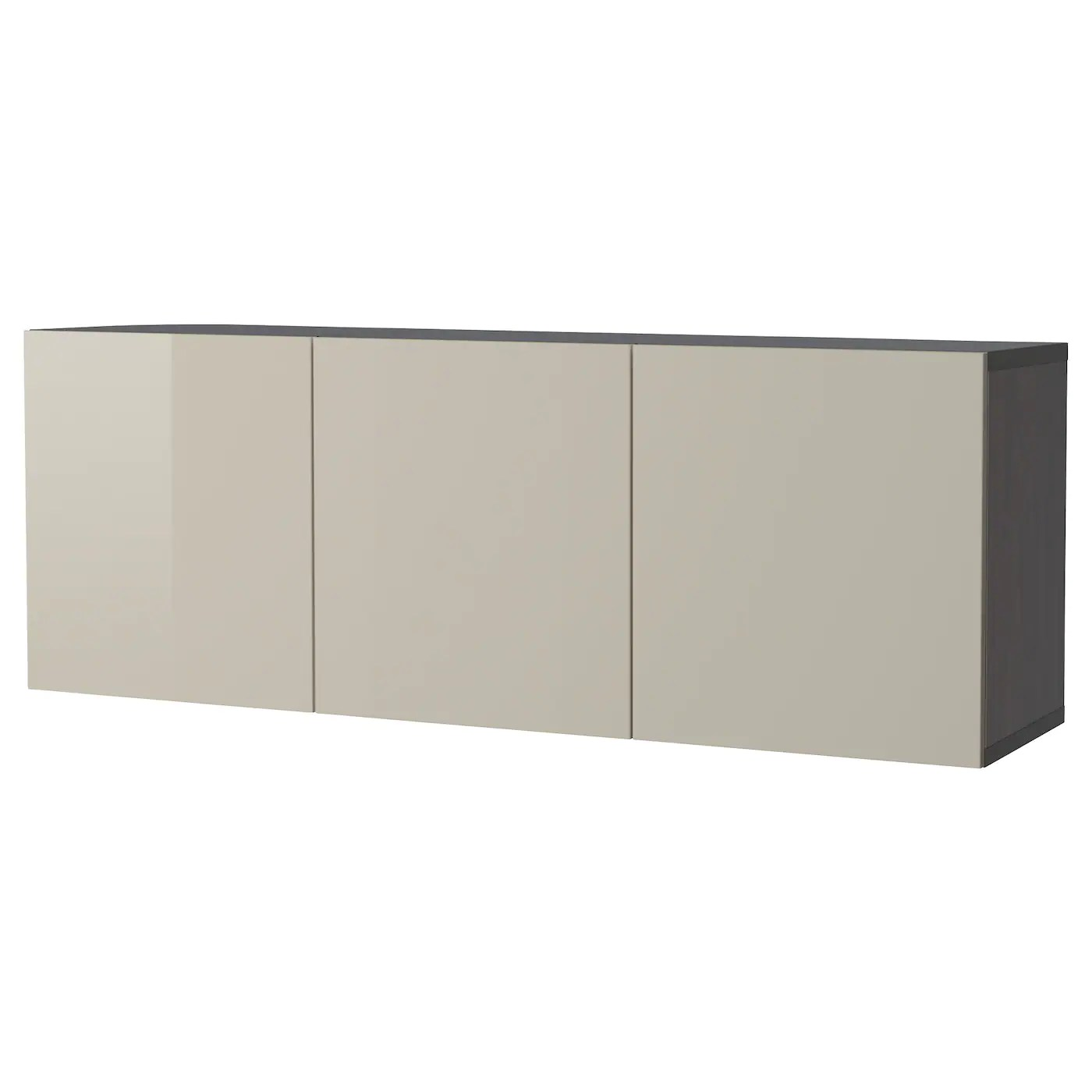 Besta Black Brown Selsviken High Gloss Beige Wall Mounted Cabinet Combination 180x42x64 Cm Ikea