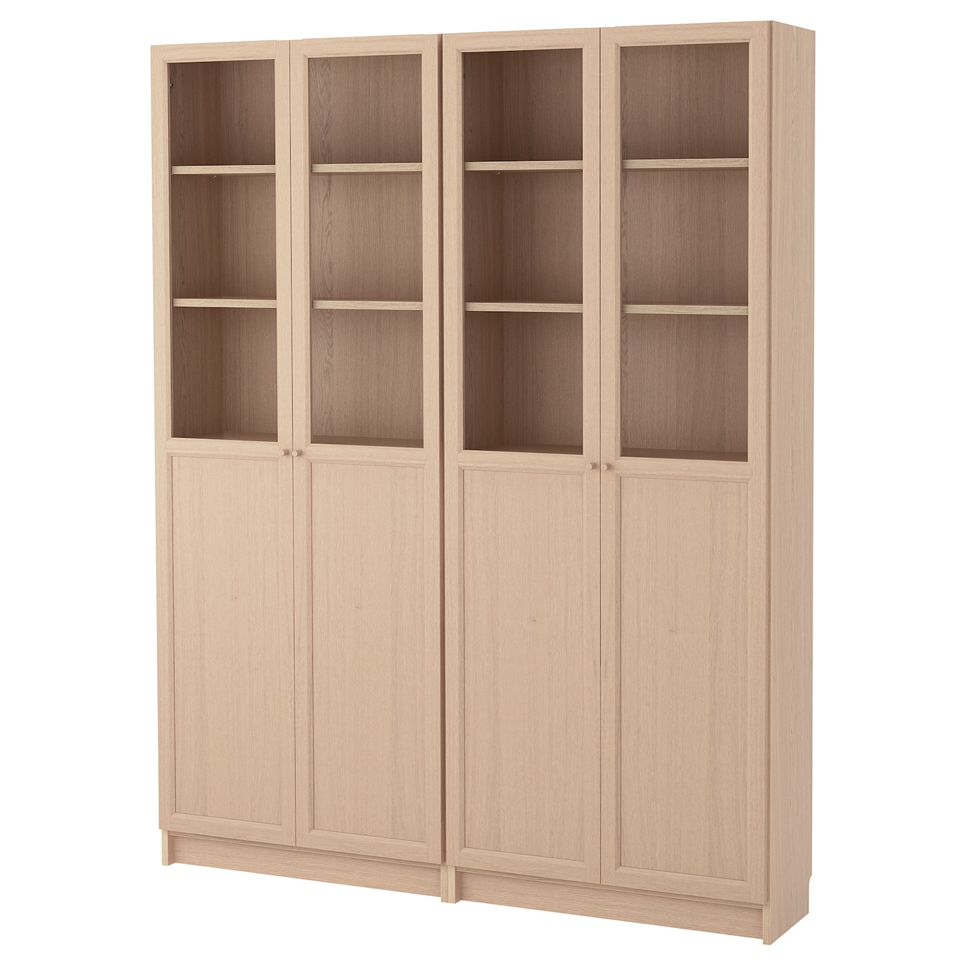 Bookcase Combination With Doors Billy Oxberg White Stained Oak Veneer Glass