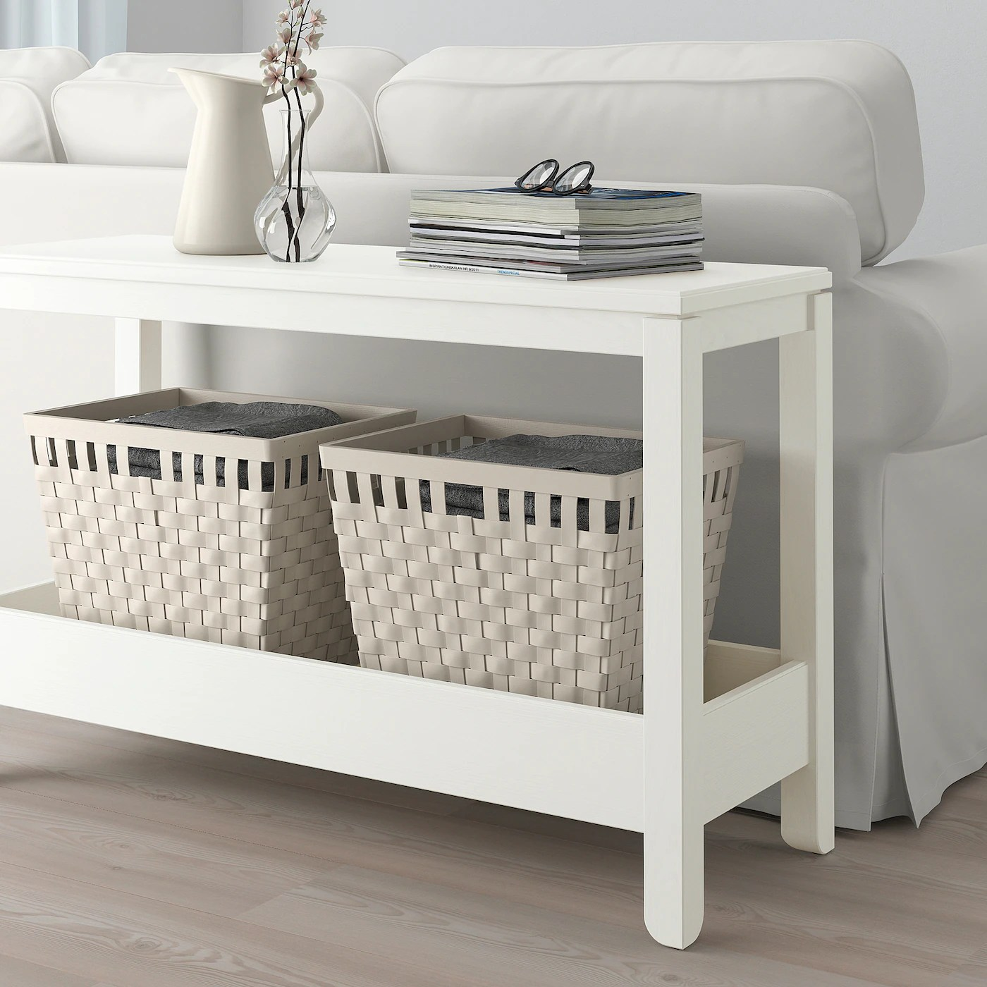 Havsta White Console Table 100x35x63 Cm Ikea