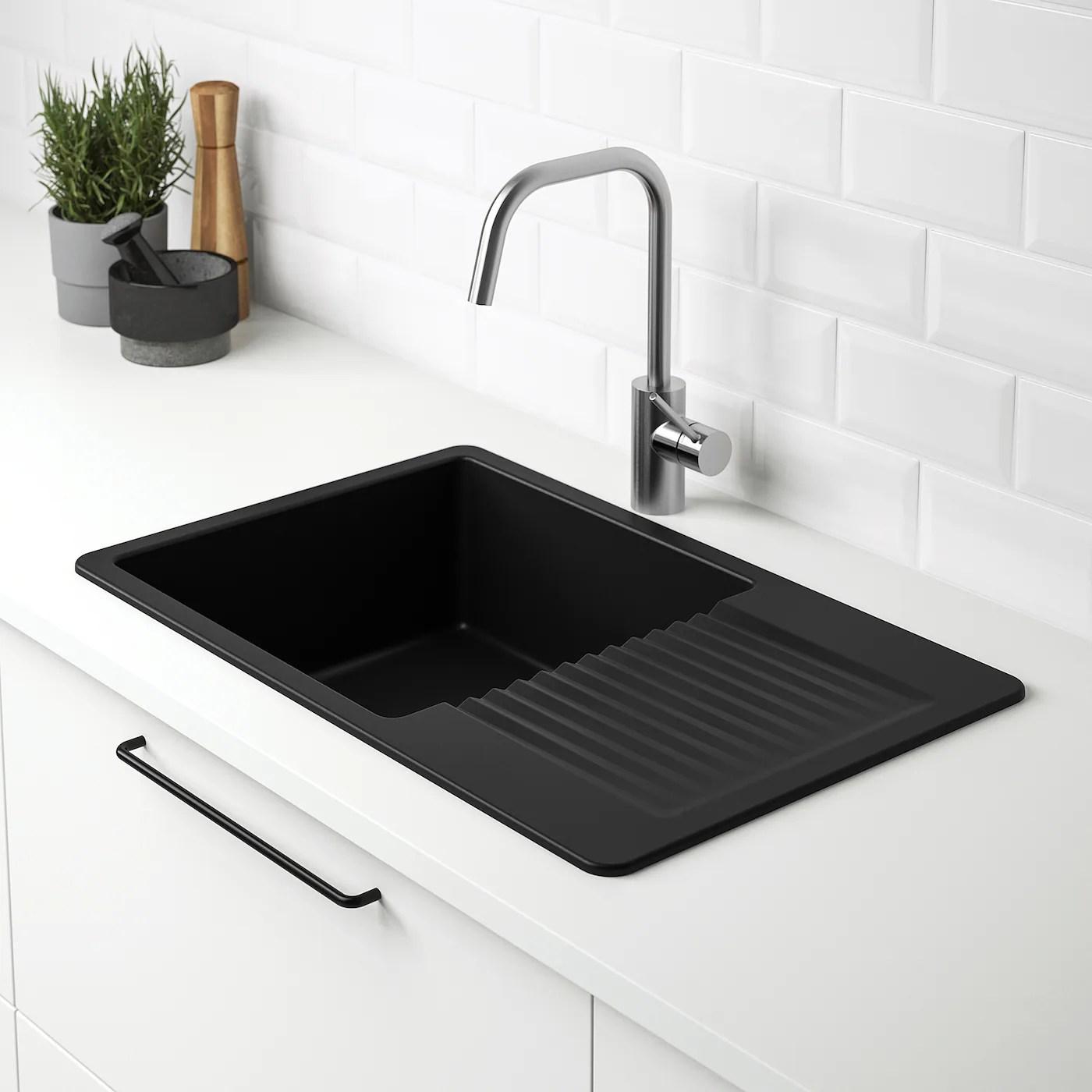 Kilsviken Inset Sink 1 Bowl With Drainboard Black Quartz Composite Ikea