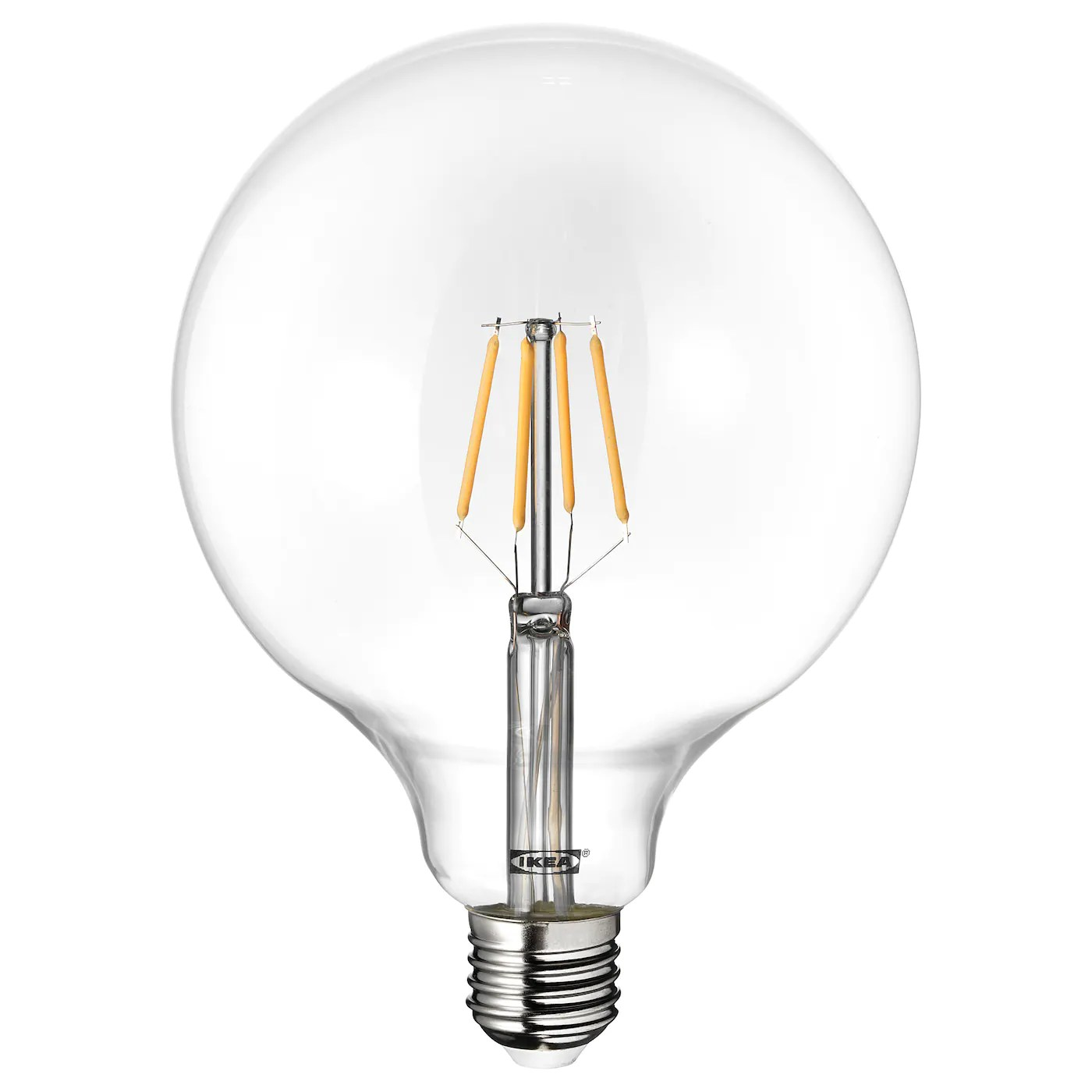 lunnom led bulb e27 600 lumen globe clear glass 125 mm